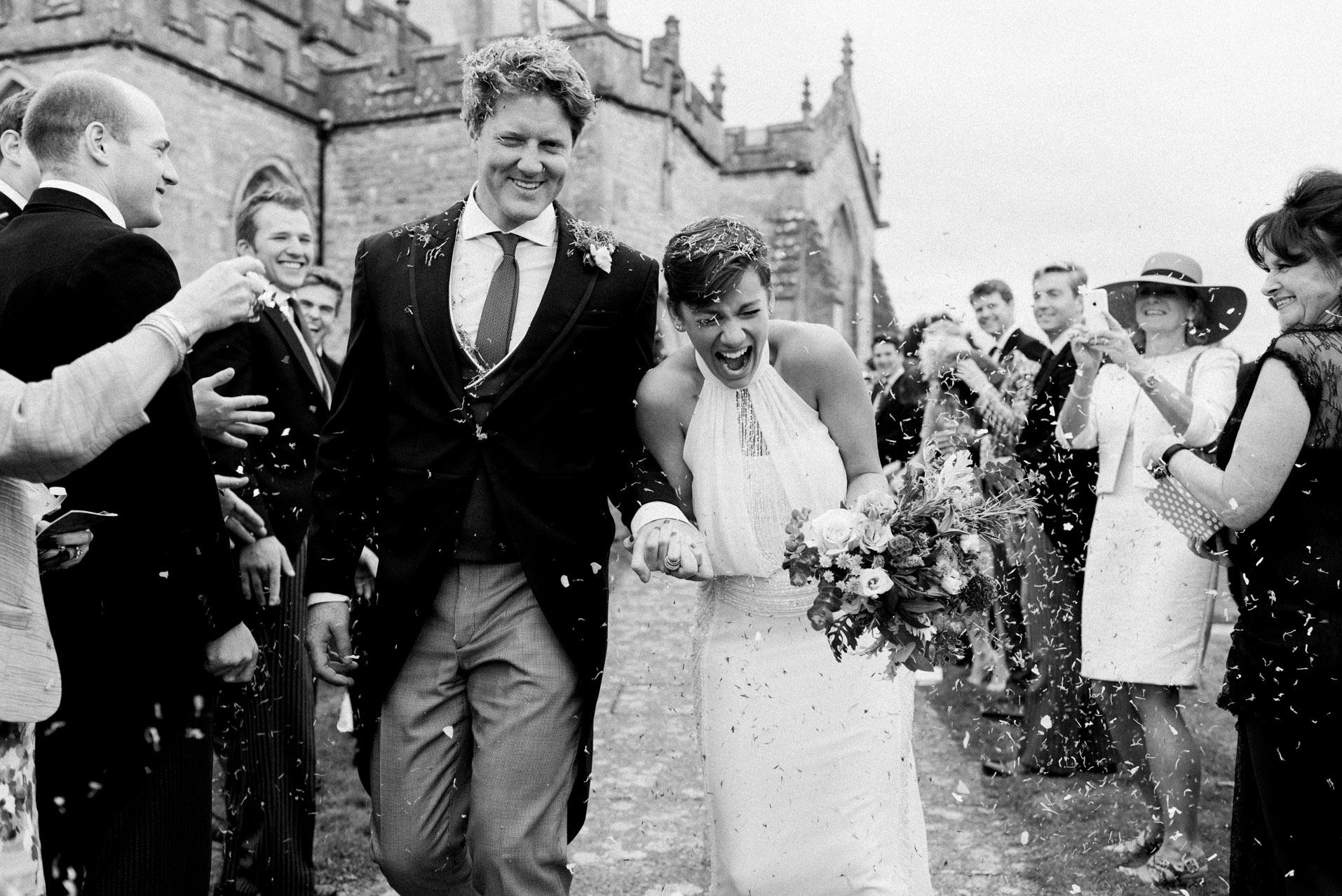 Confetti after wedding ceremony