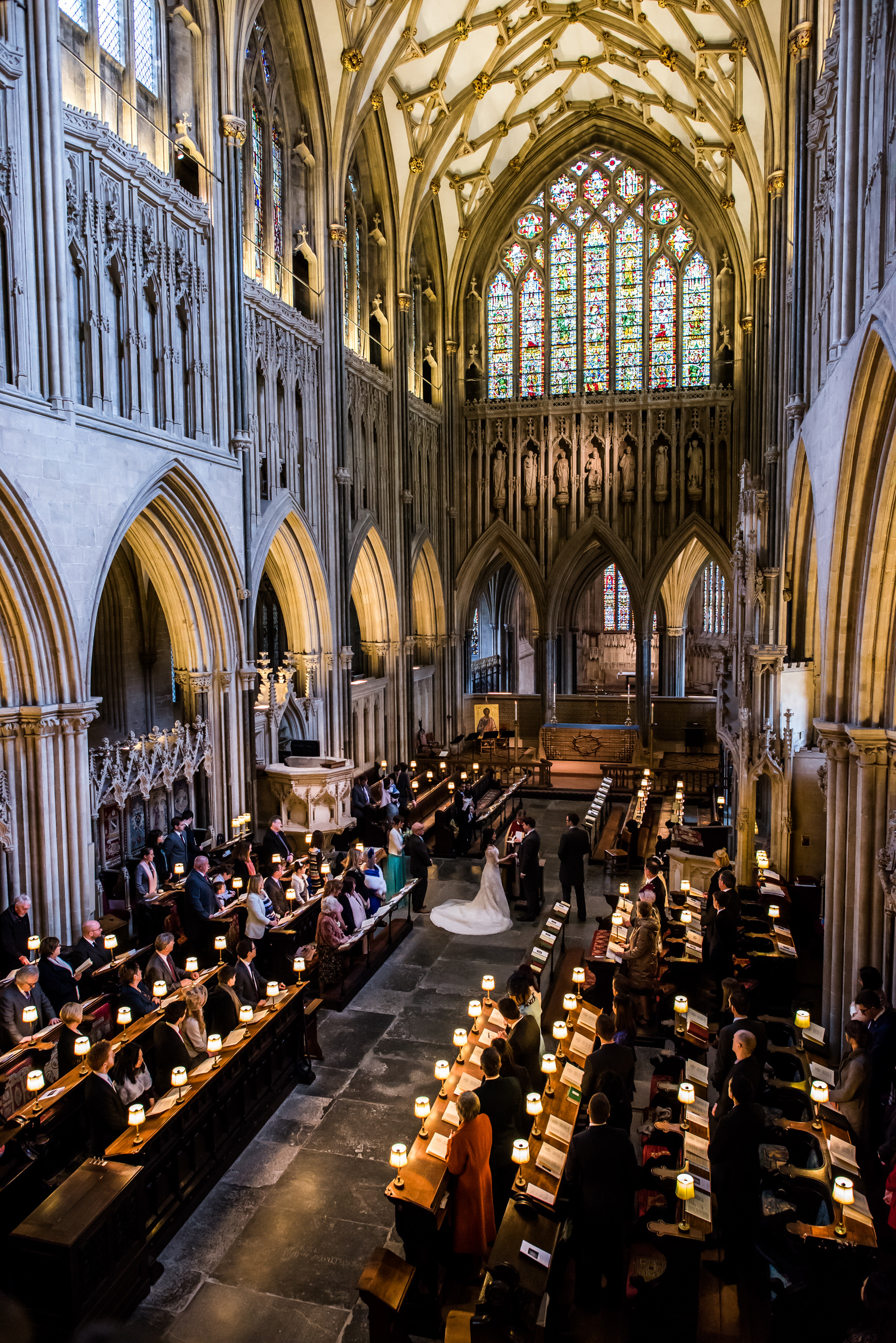 Wells Cathedral wedding from gallery