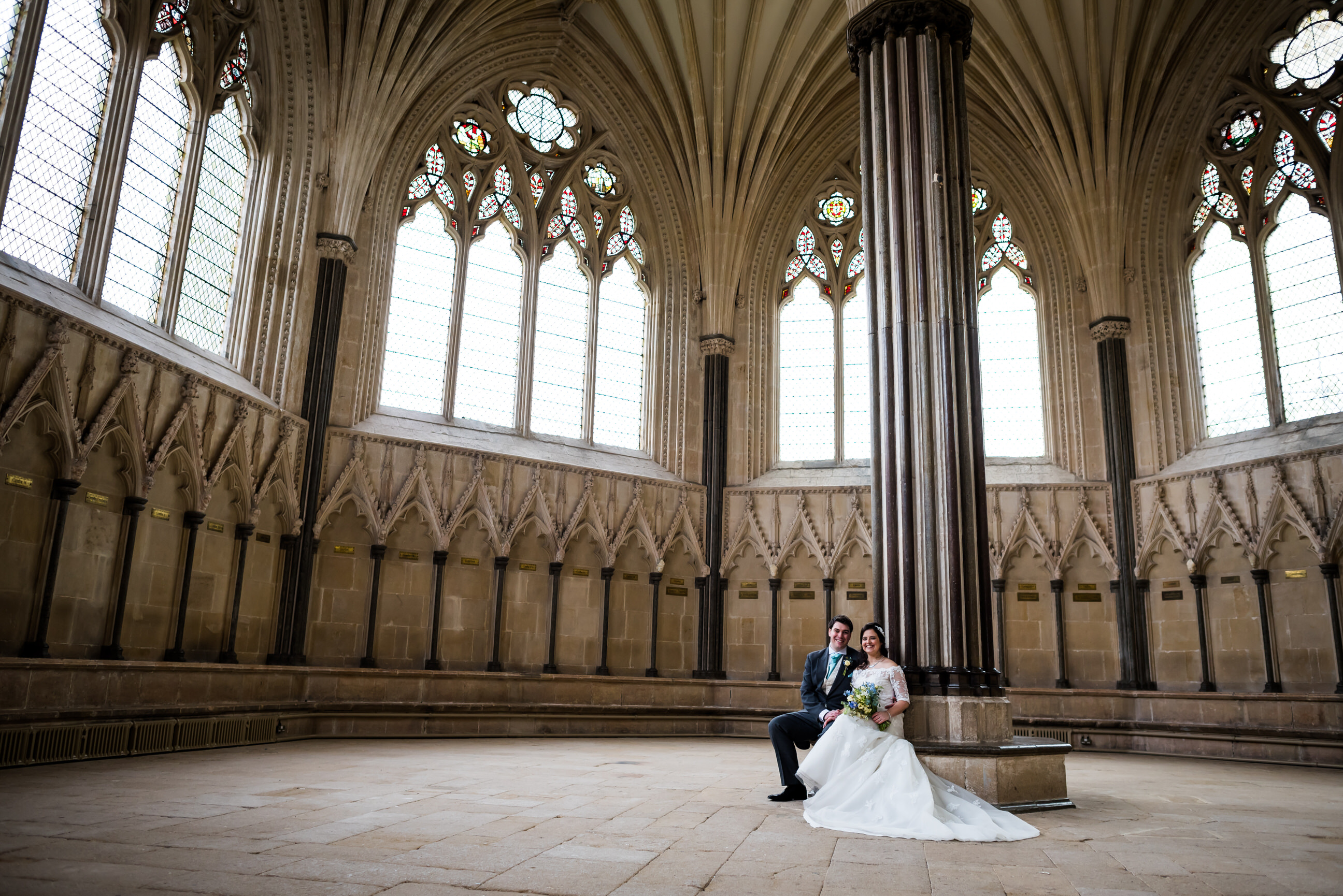 Wedding couple at Wells Cathedral