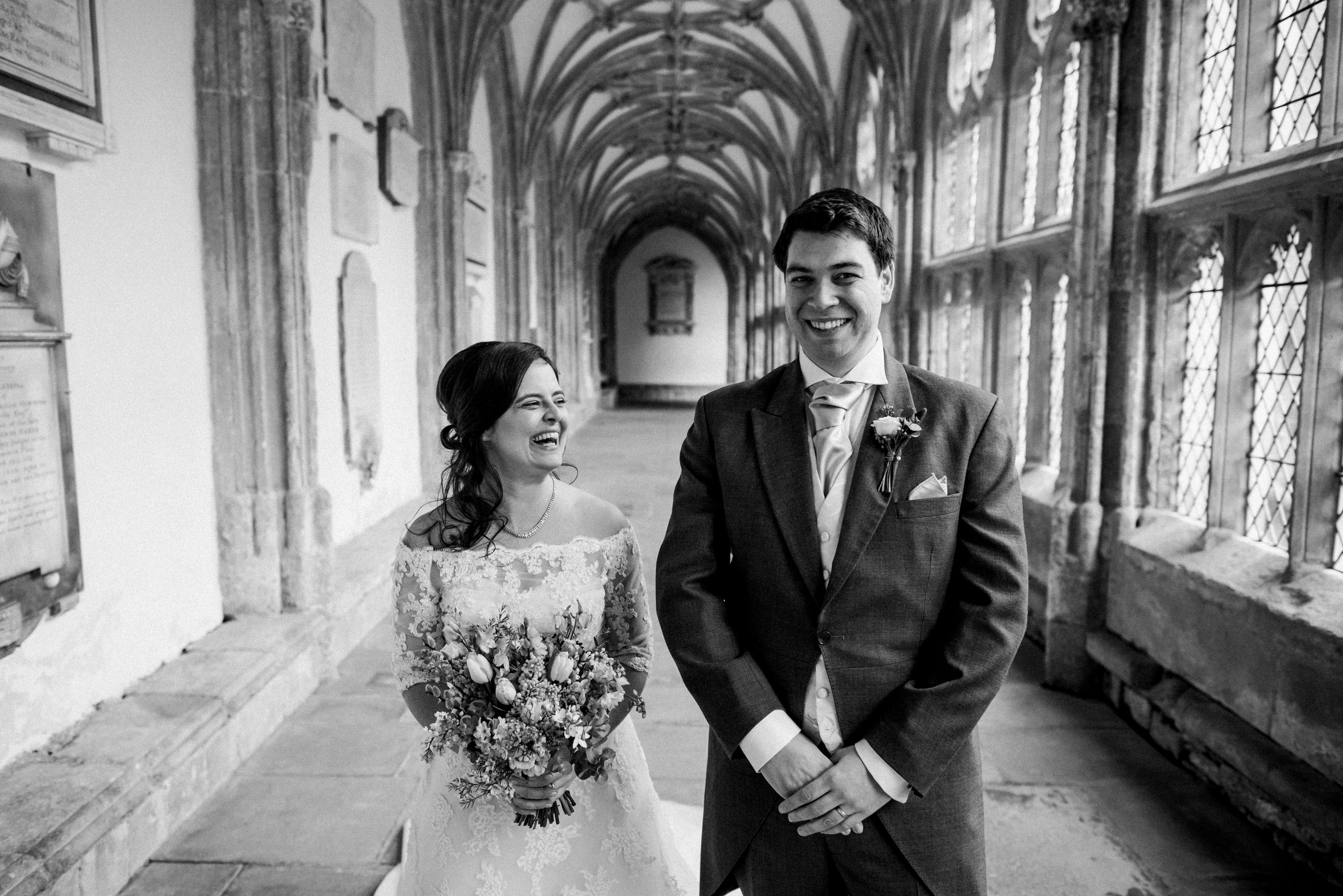 Bride and groom Wells Cathedral