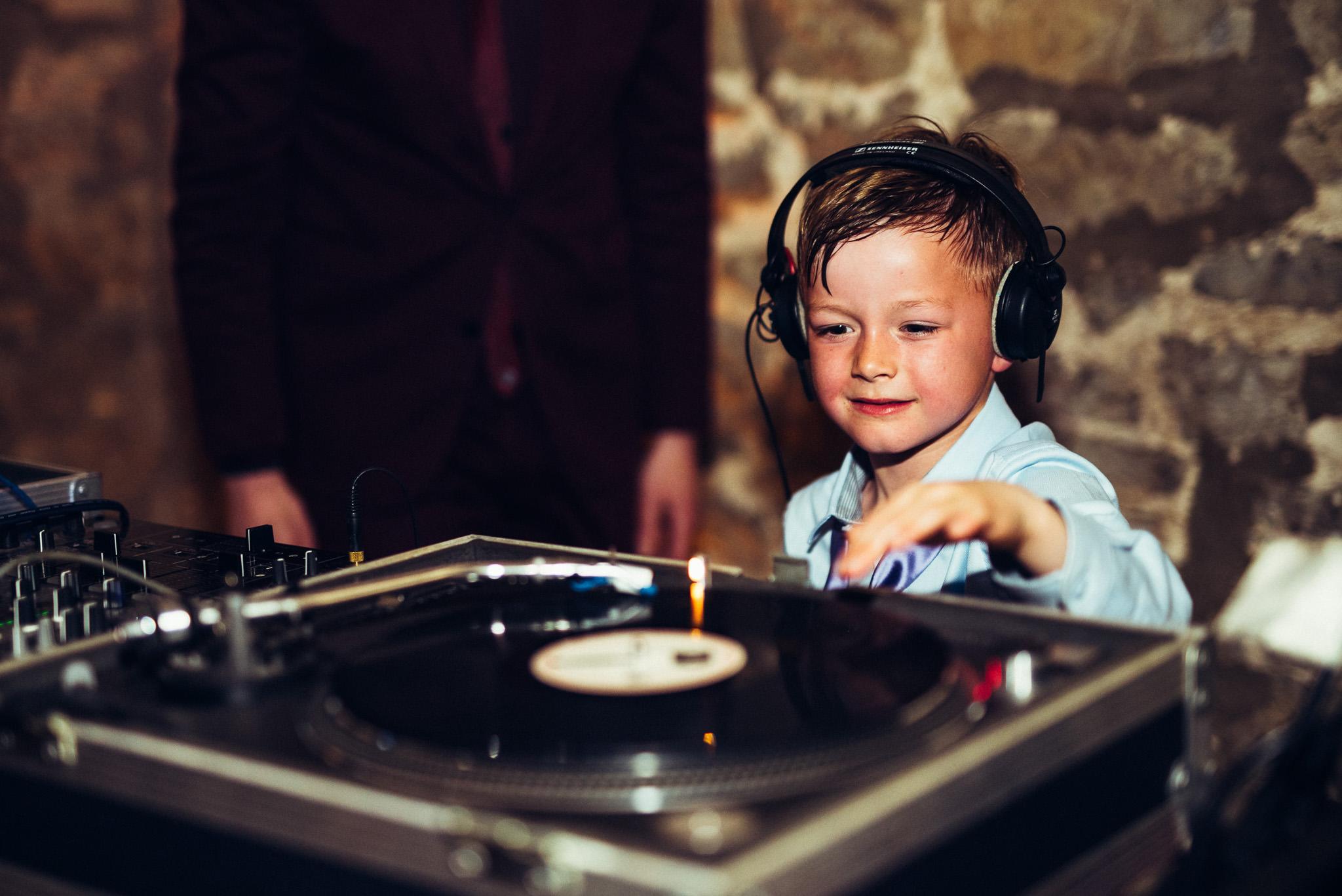 kid being DJ at wedding Priston Mill