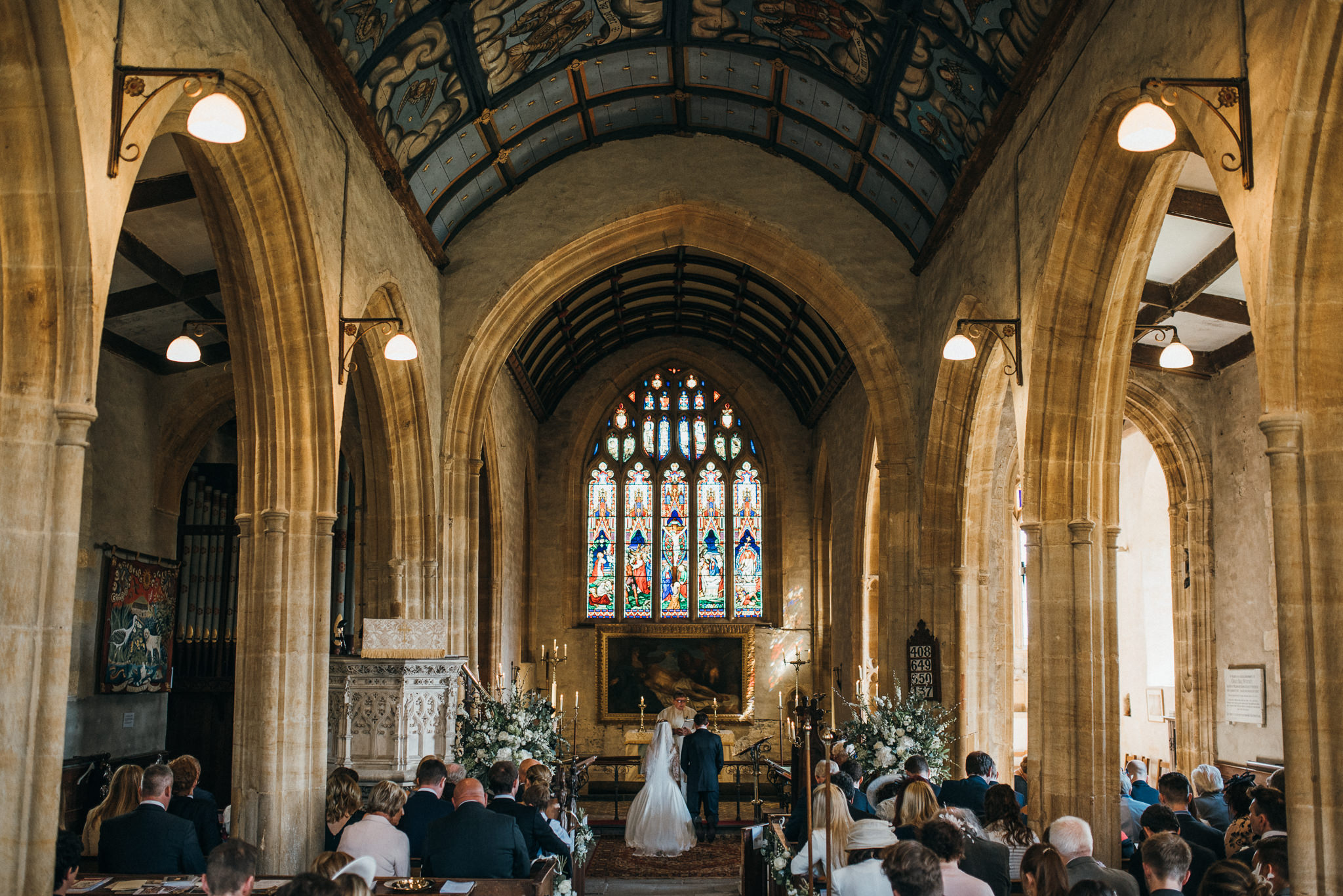 Wedding service at Church of St Peter and St Paul, Muchelney