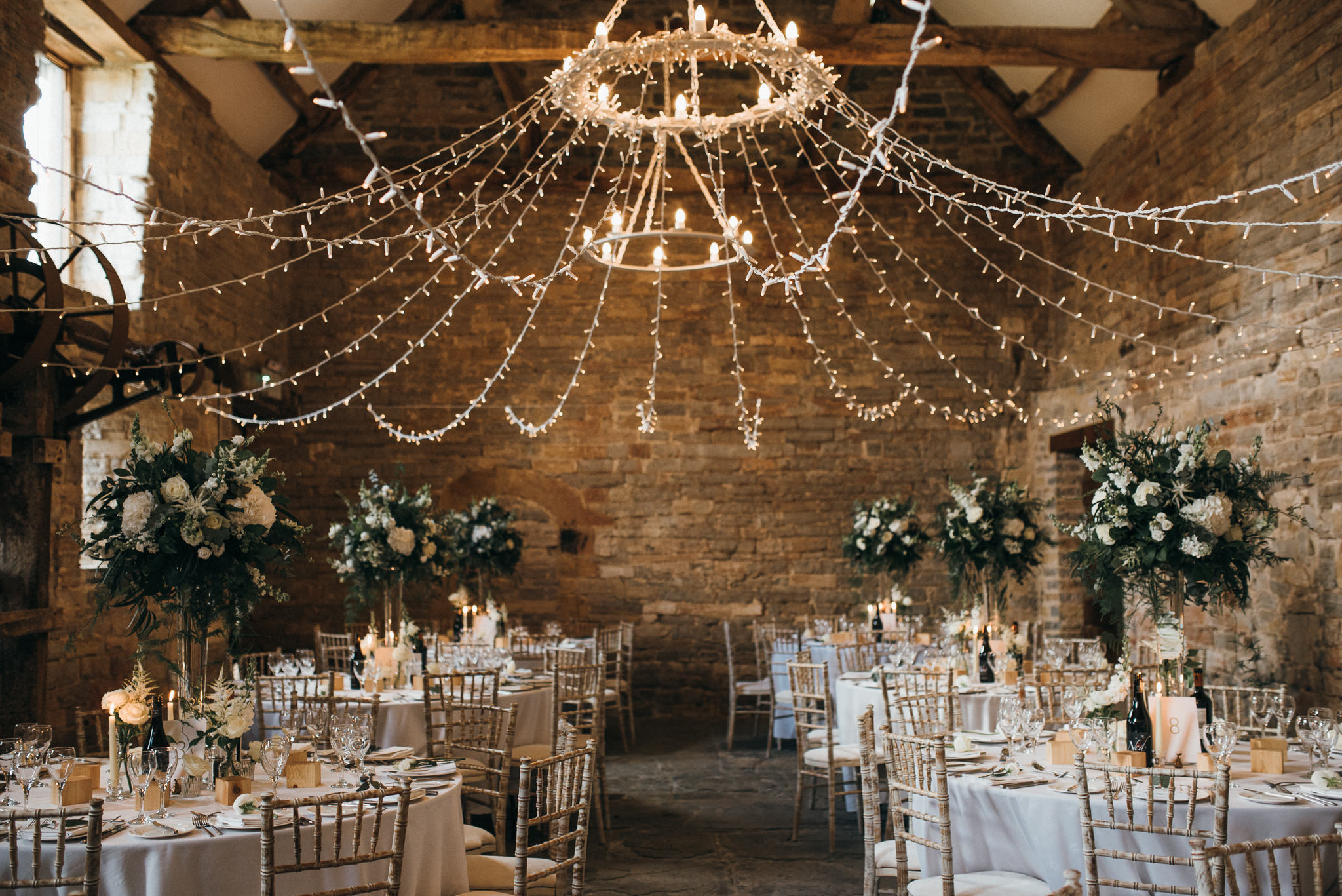 wedding breakfast setup at Almonry Barn, Somerset