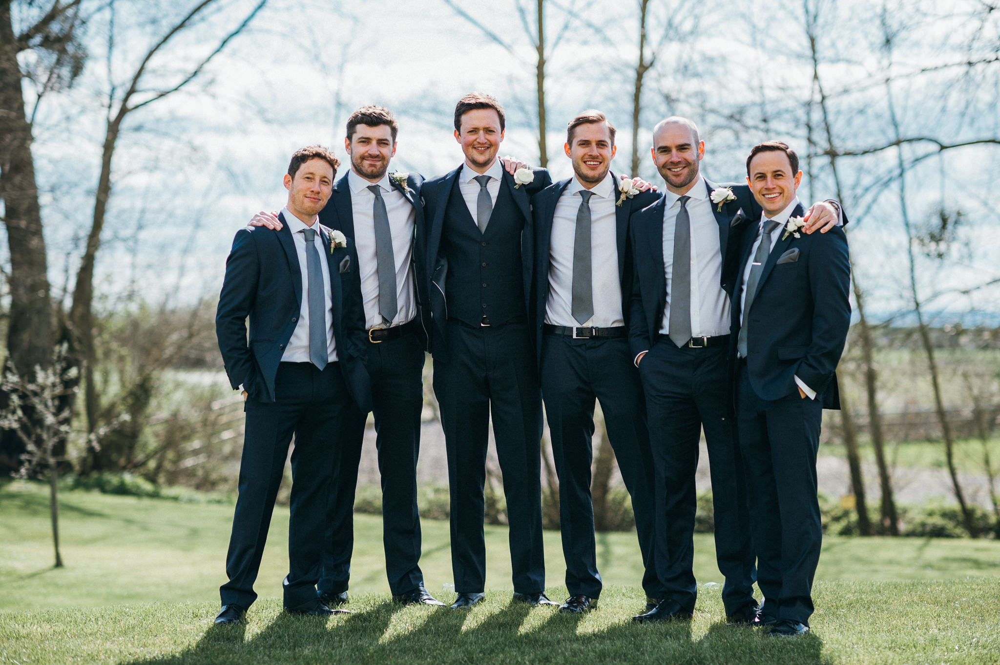 groomsmen group photo at Almonry Barn, Somerset
