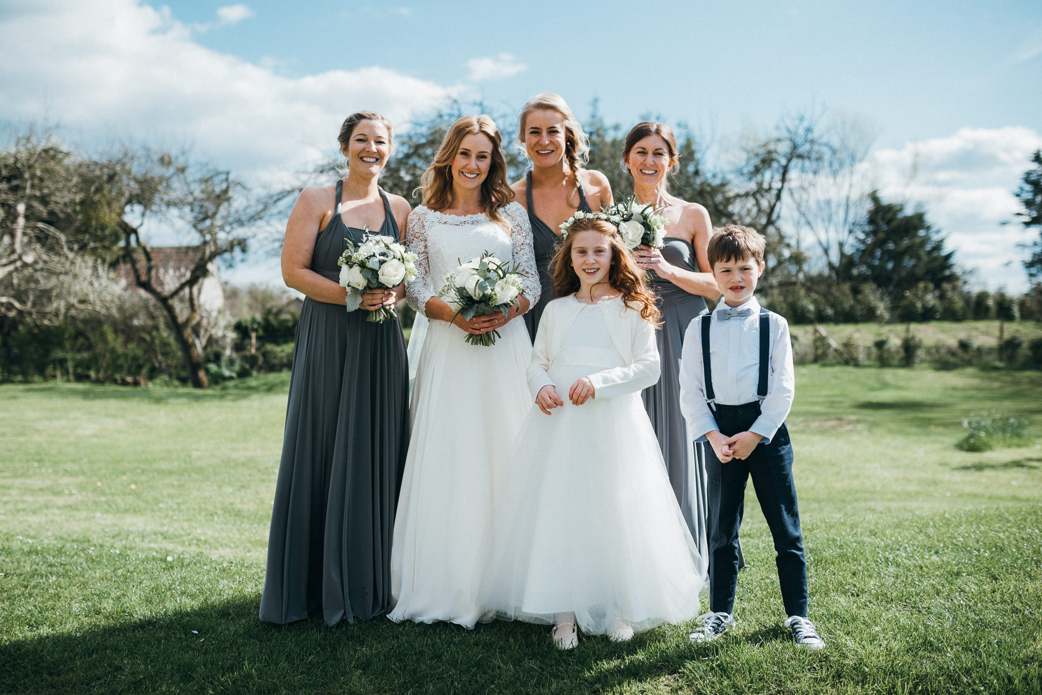 bridal party group photo at Almonry Barn, Somerset