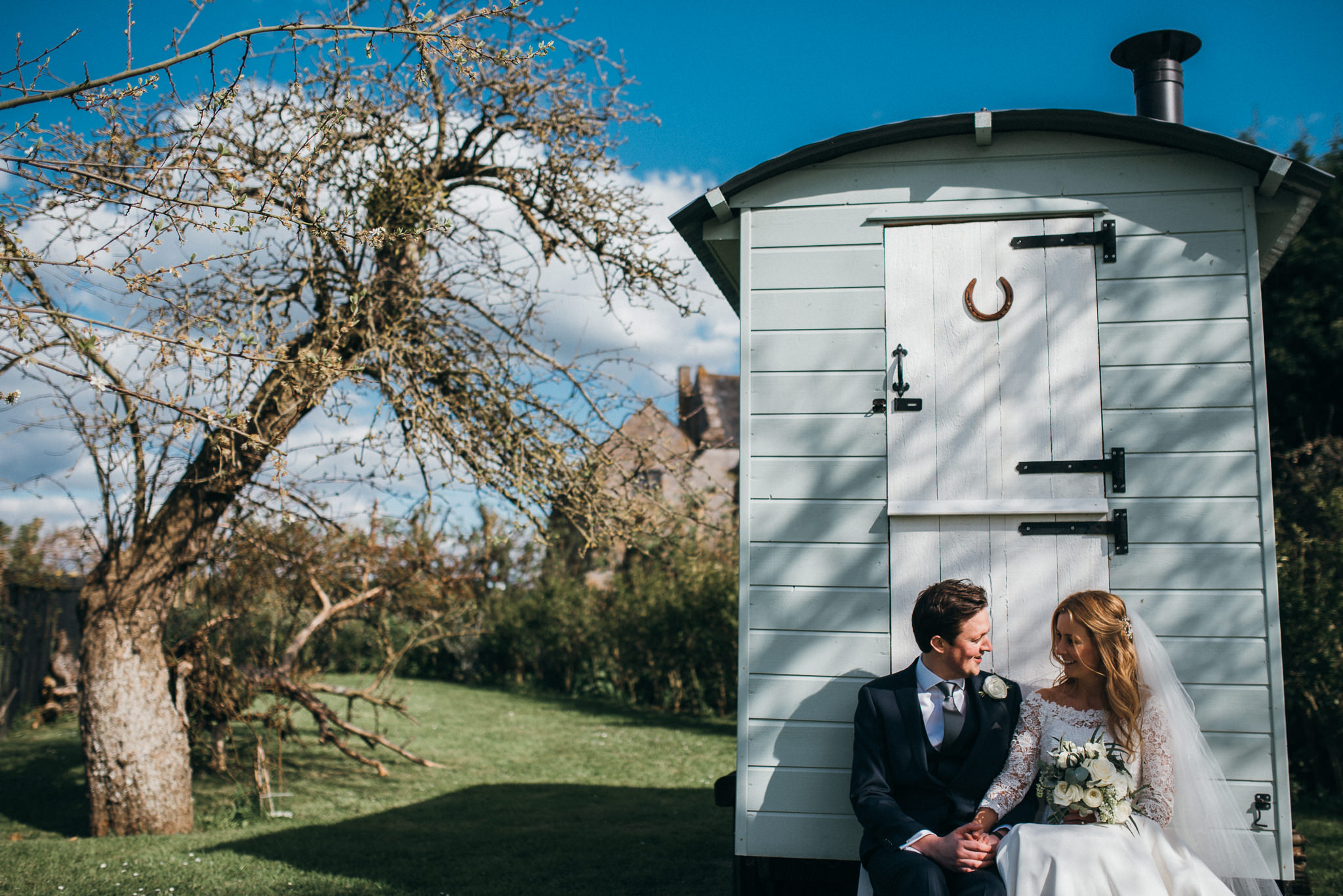 bride and groom together at almonry barn