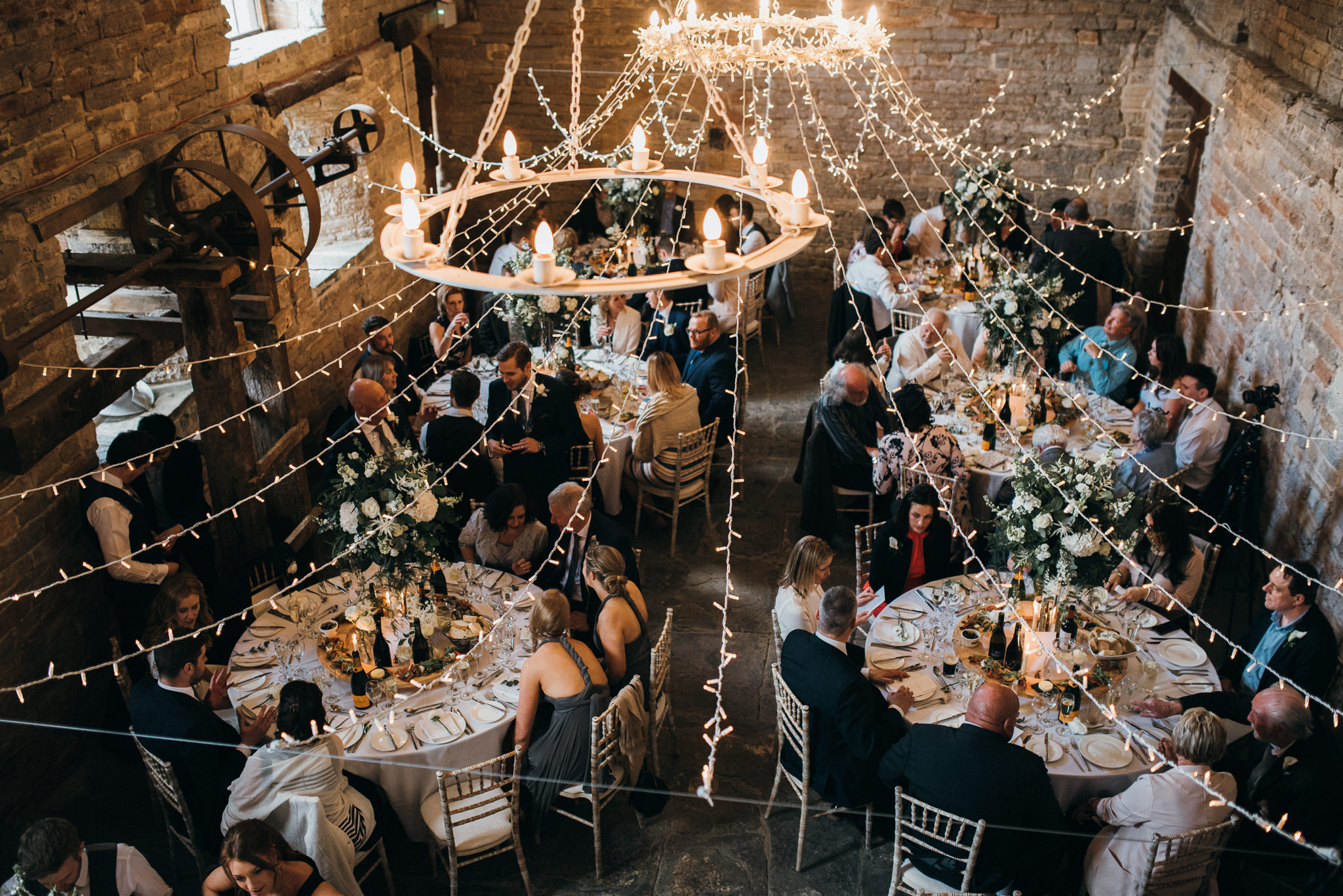 aerial shot of wedding breakfast at almonry barn Somerset