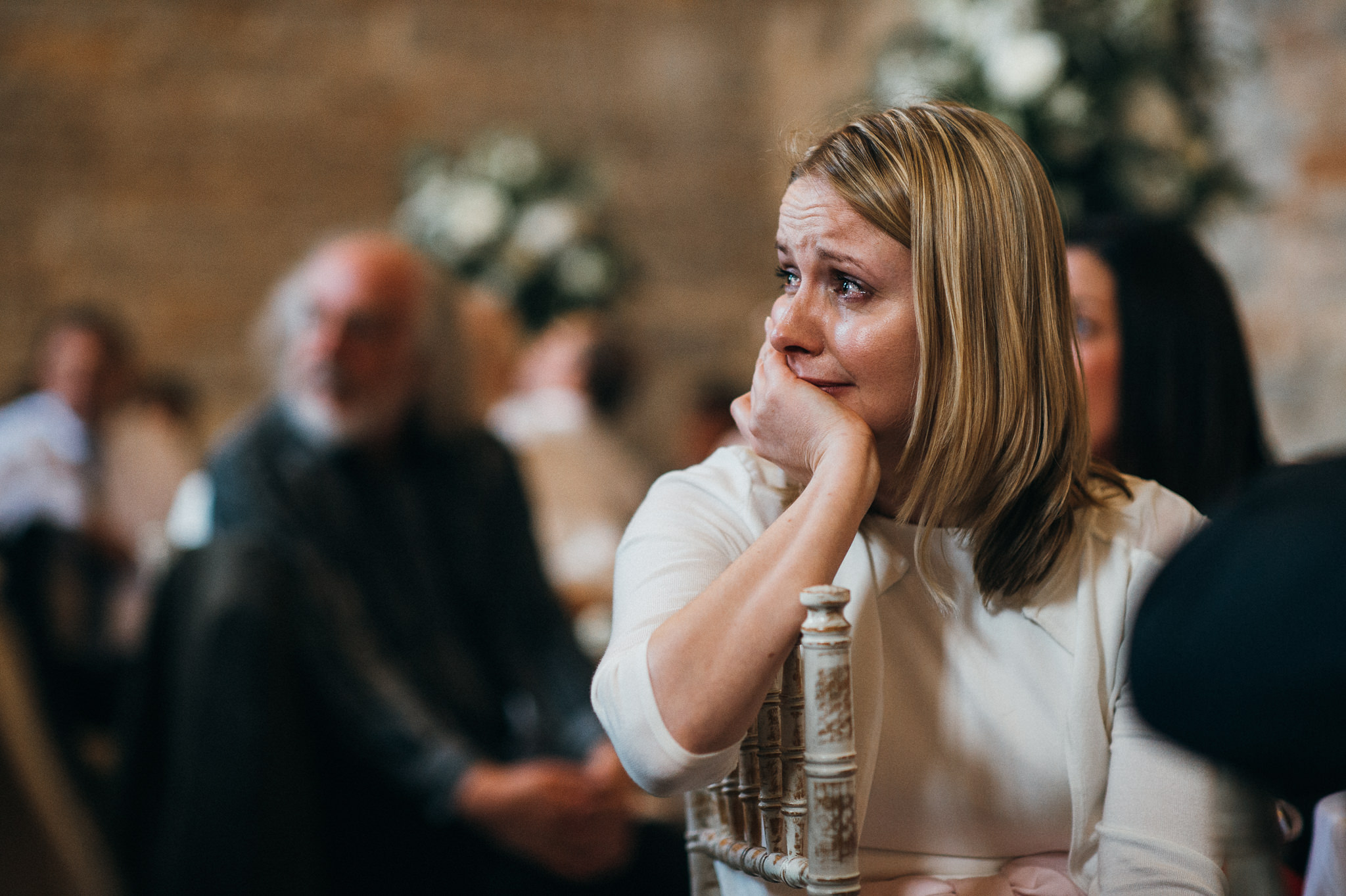 guest emotional at wedding speech at almonry barn
