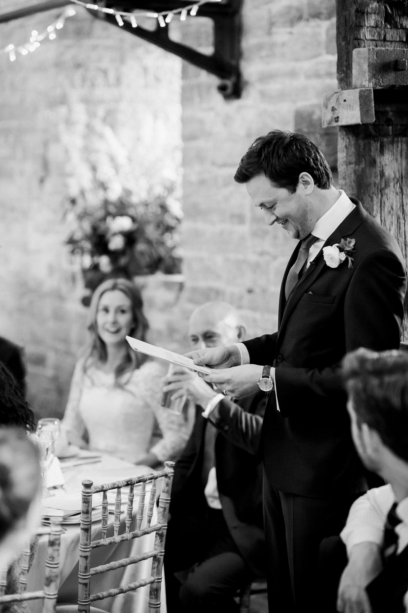 groom speech at wedding at the almonry barn