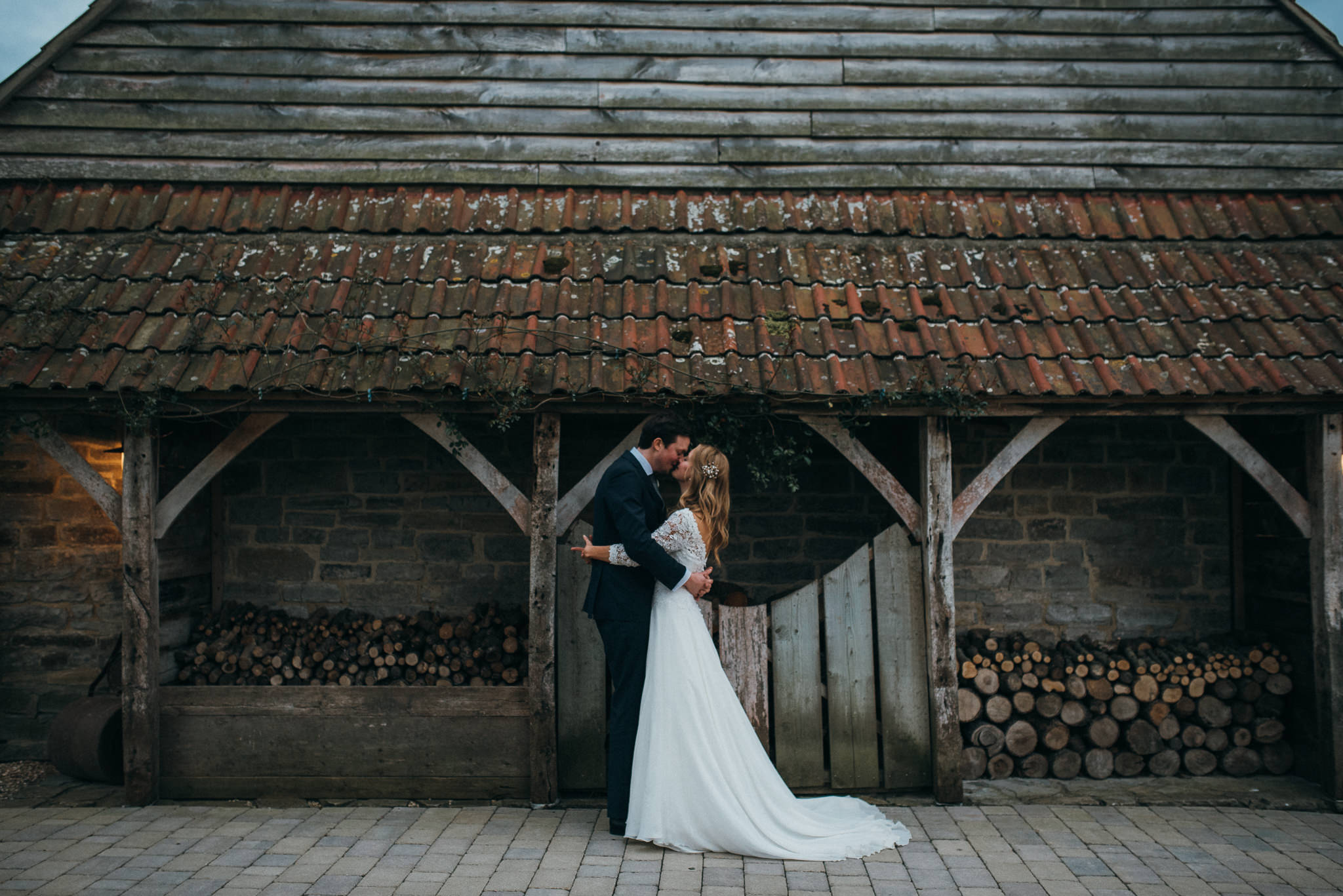 bride and groom evening light almonry barn