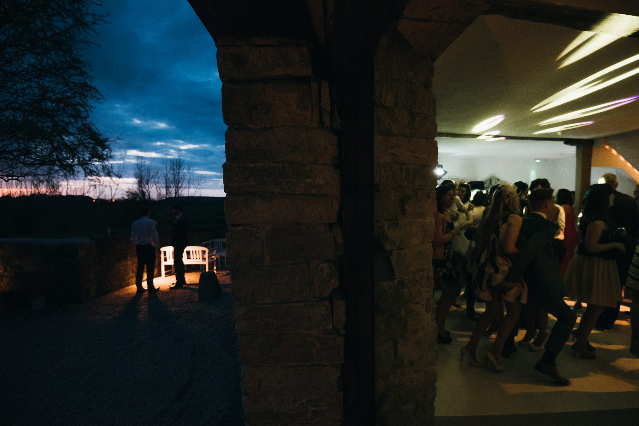 night falls at Almonry barn wedding