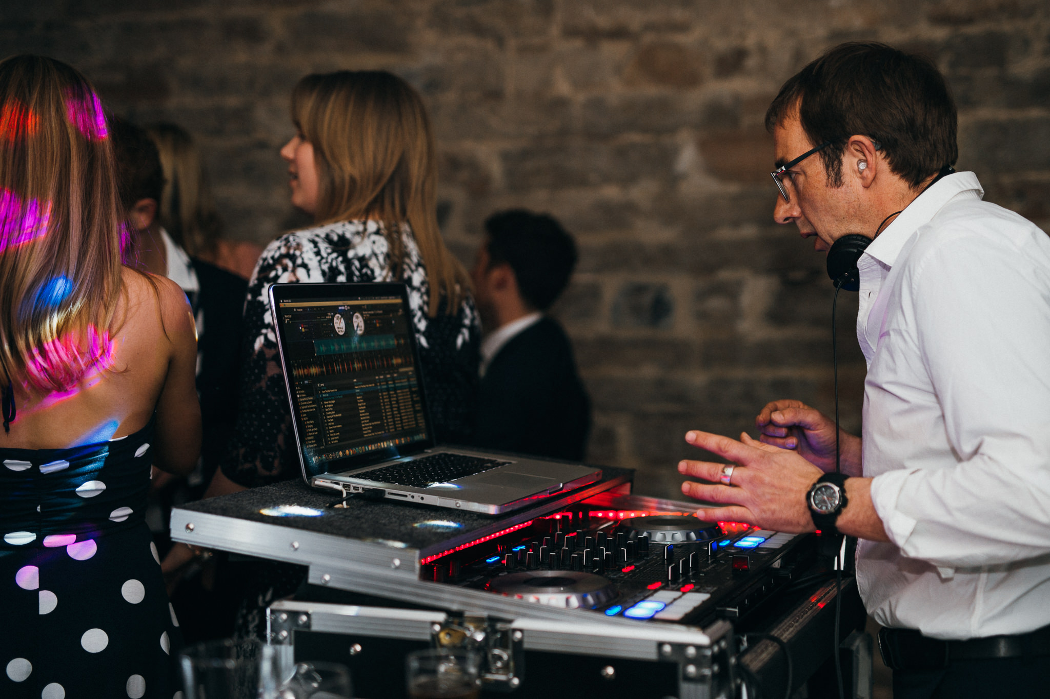 dj spins tunes at Almonry barn wedding