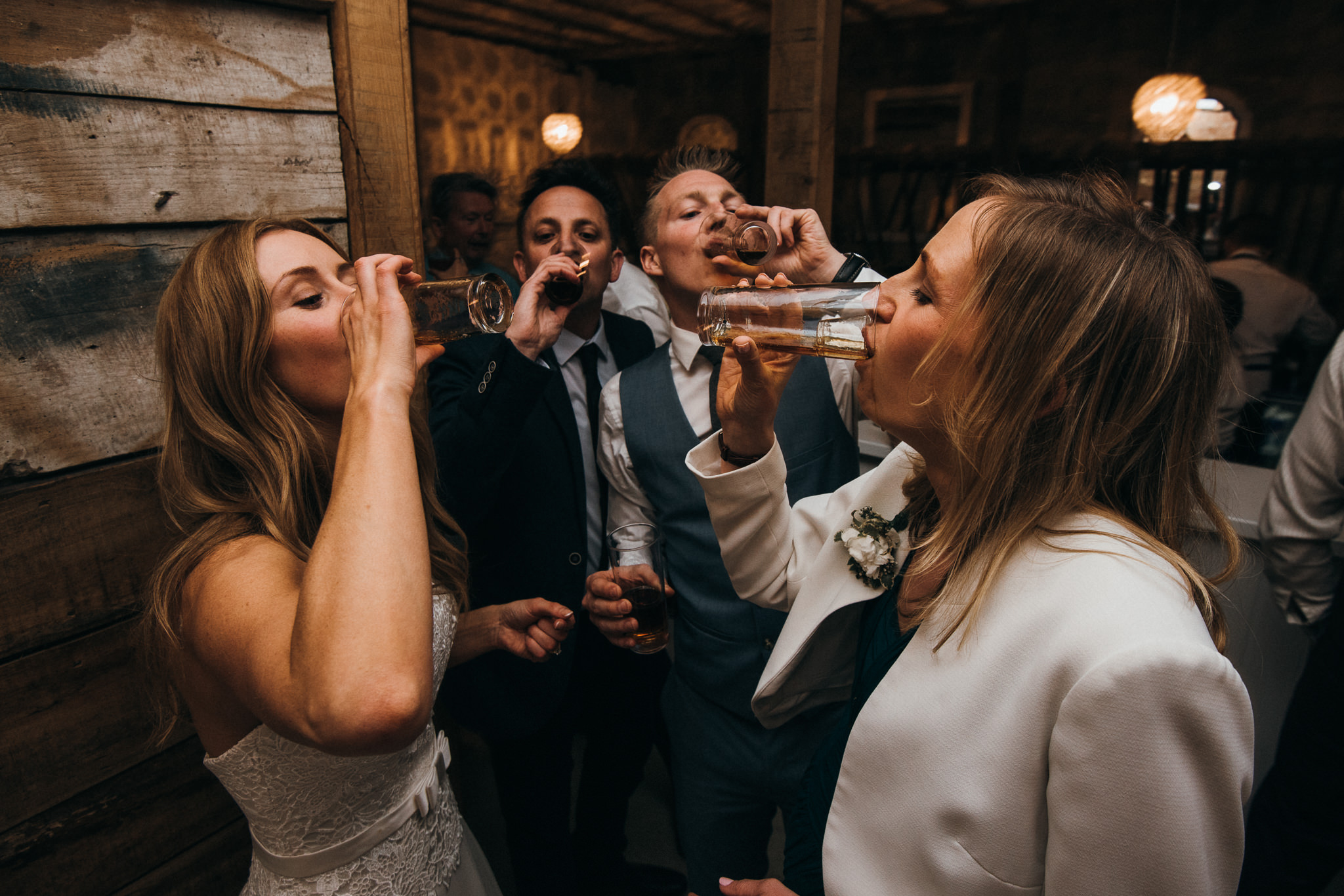 drinking at Almonry barn wedding
