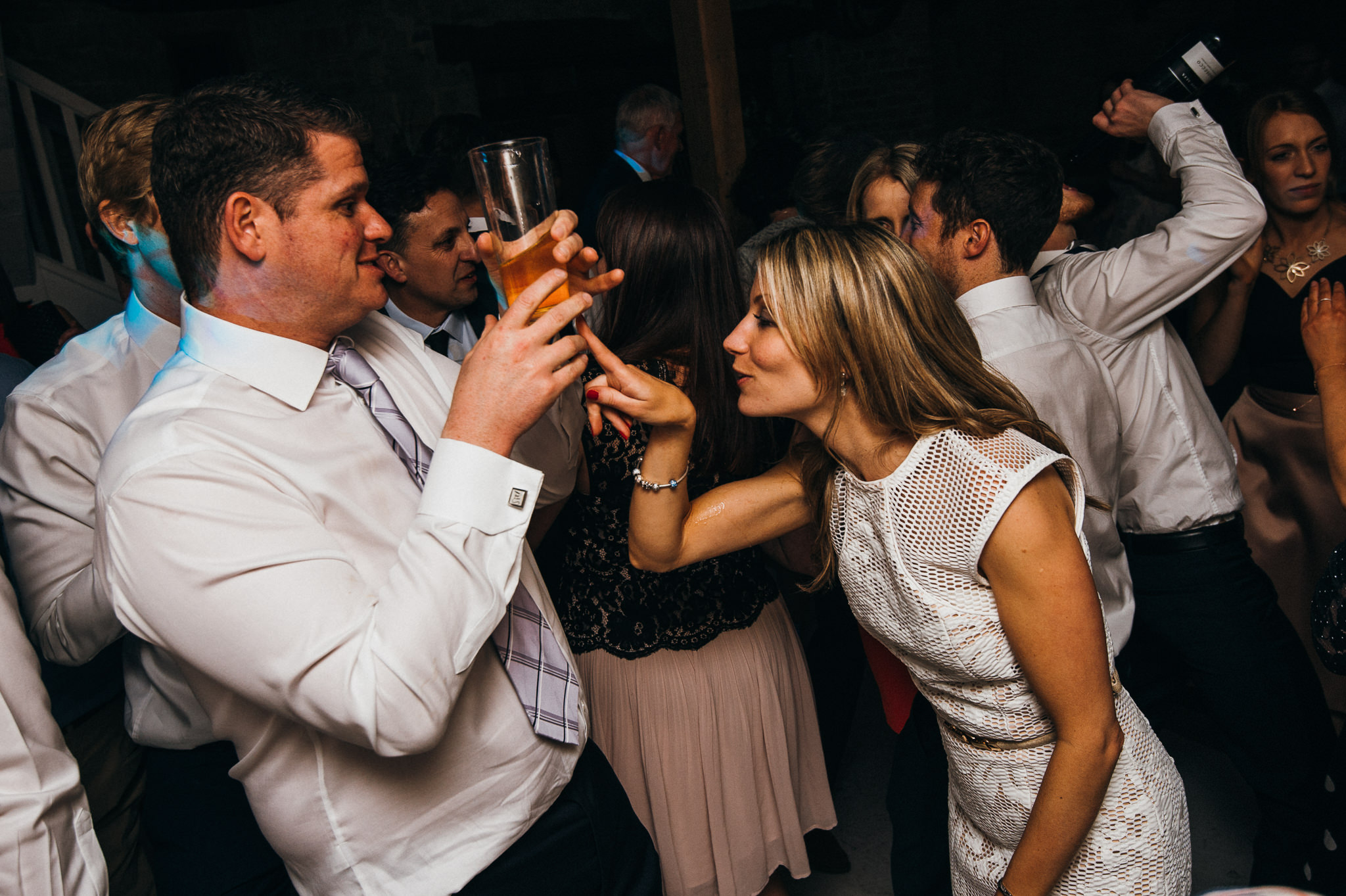 fun times on dance floor at Almonry barn wedding