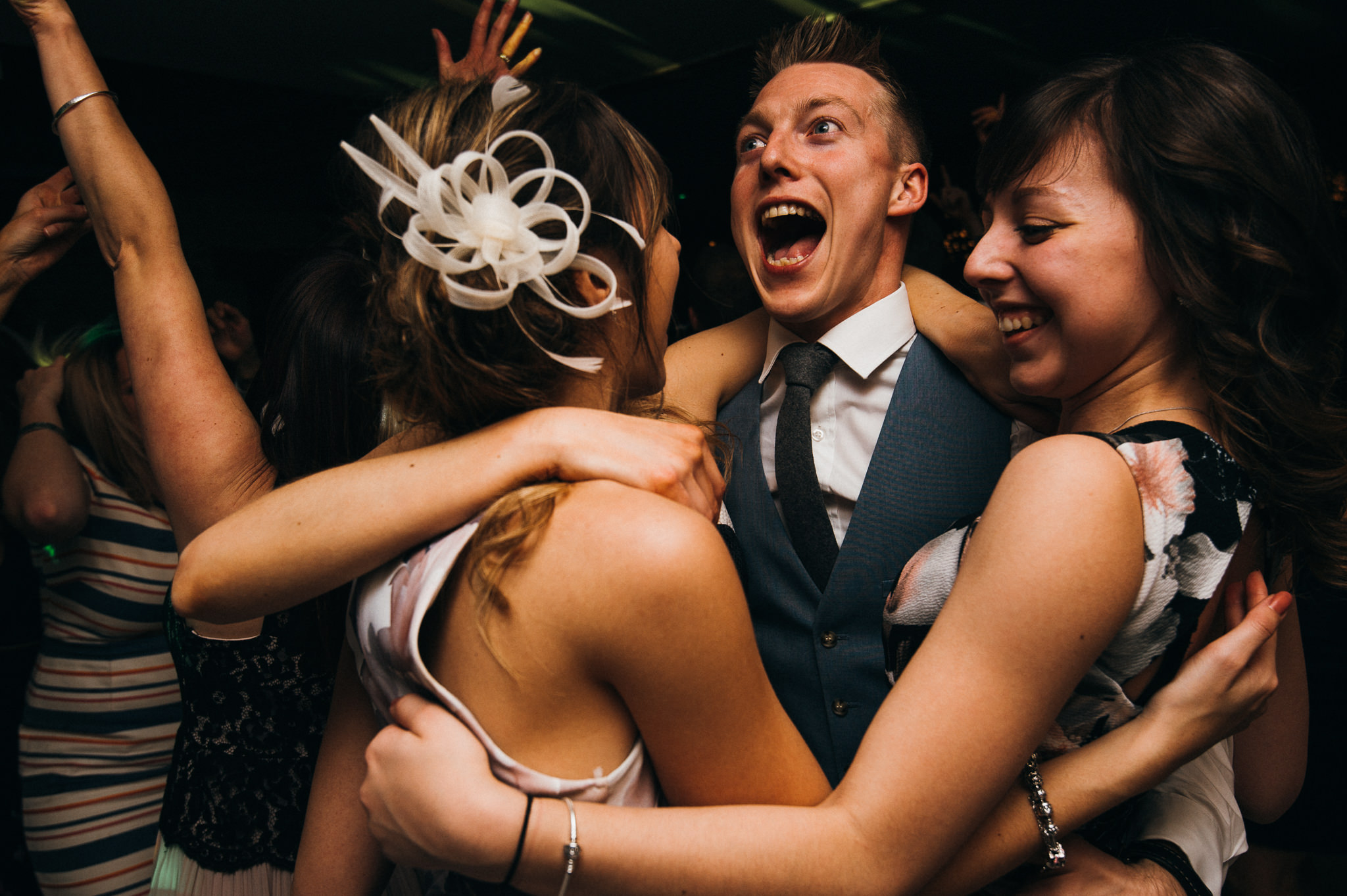 revelry on dance floor at Almonry barn wedding