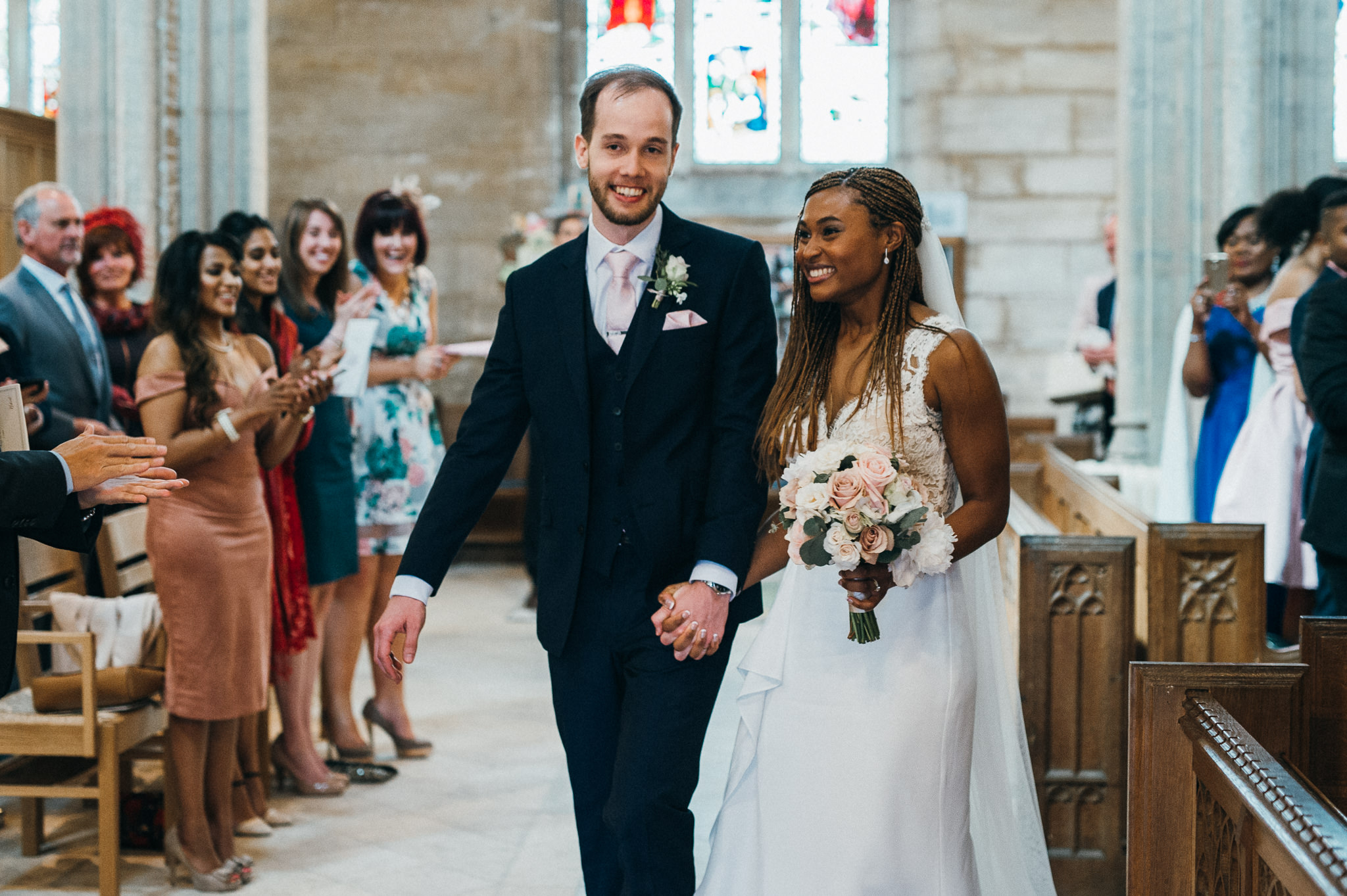 Bride and Groom just married Blagdon Church wedding