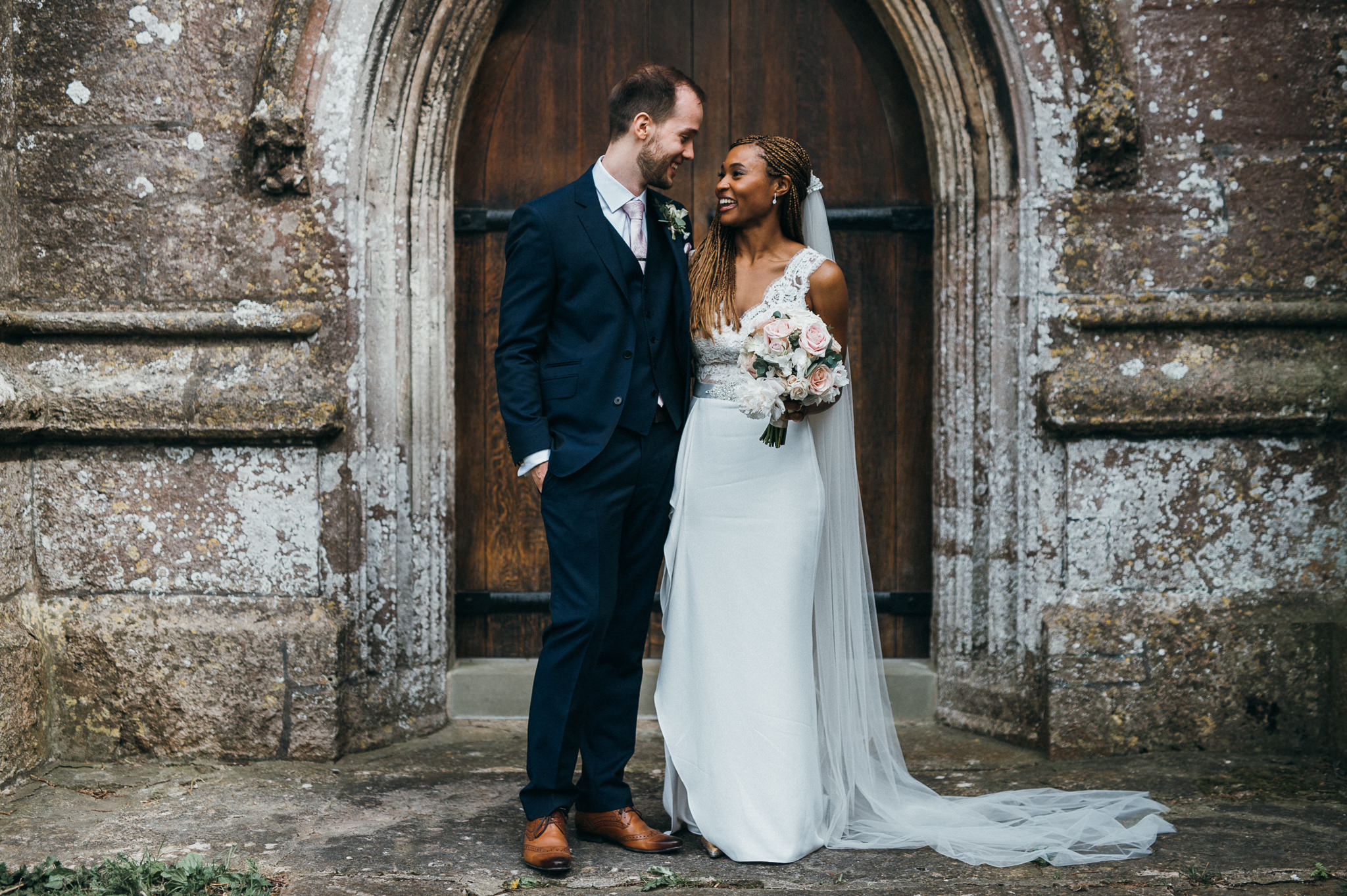 newlyweds outside blagdon church