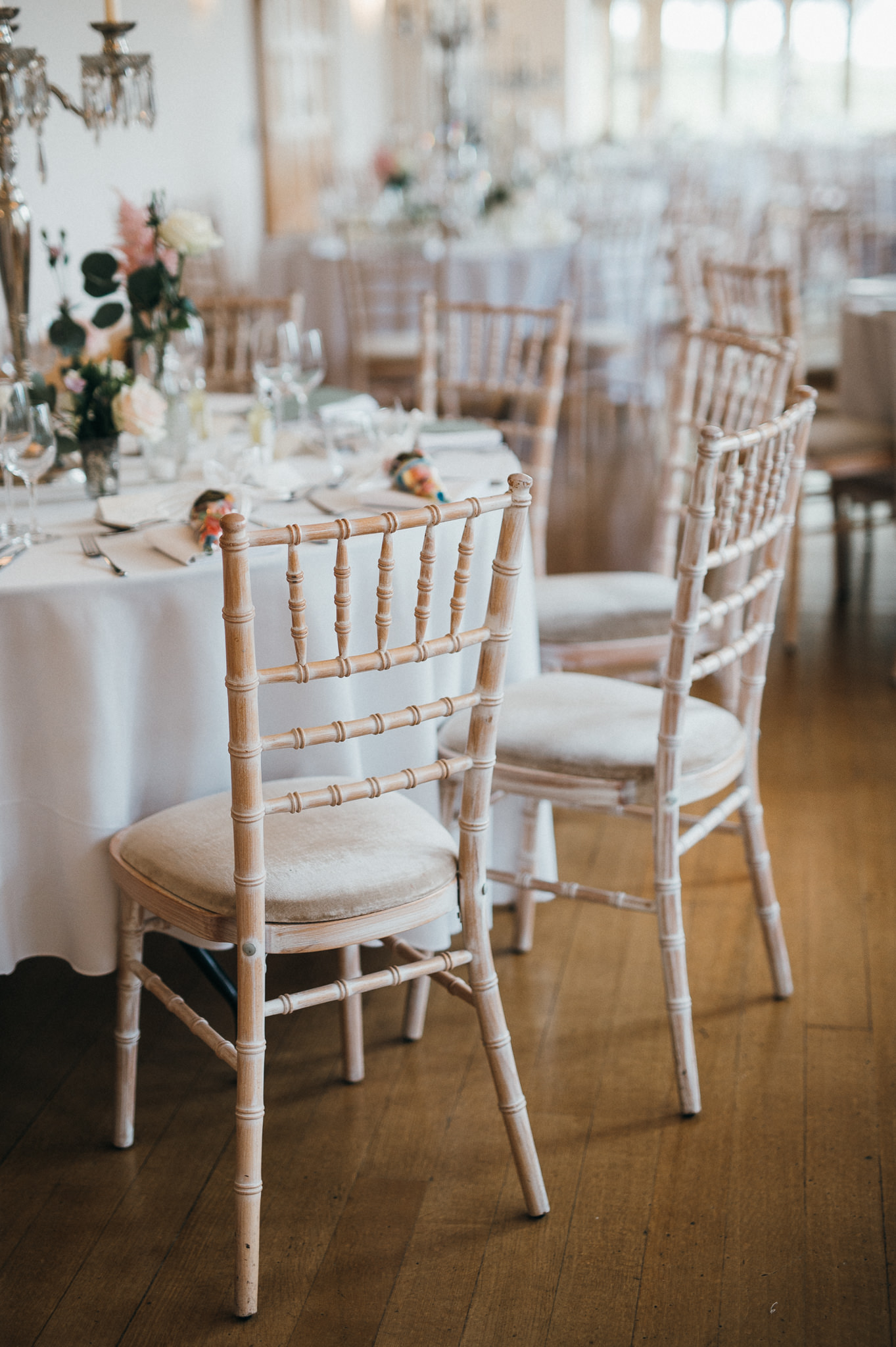 Wedding chairs Coombe Lodge Blagdon