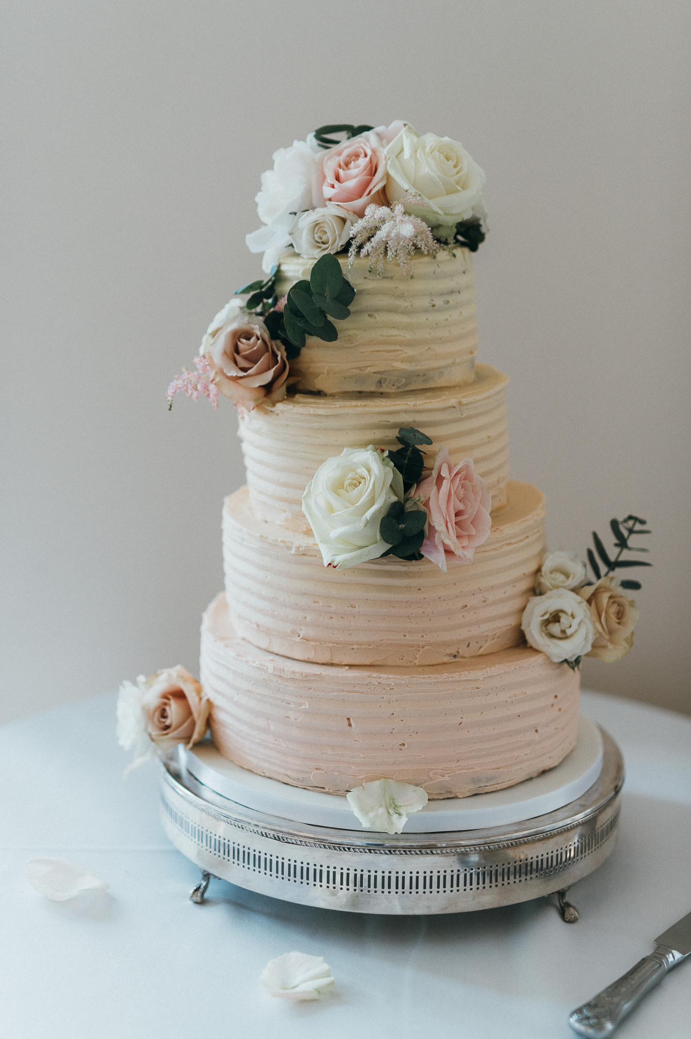 Wedding cake with floral icing