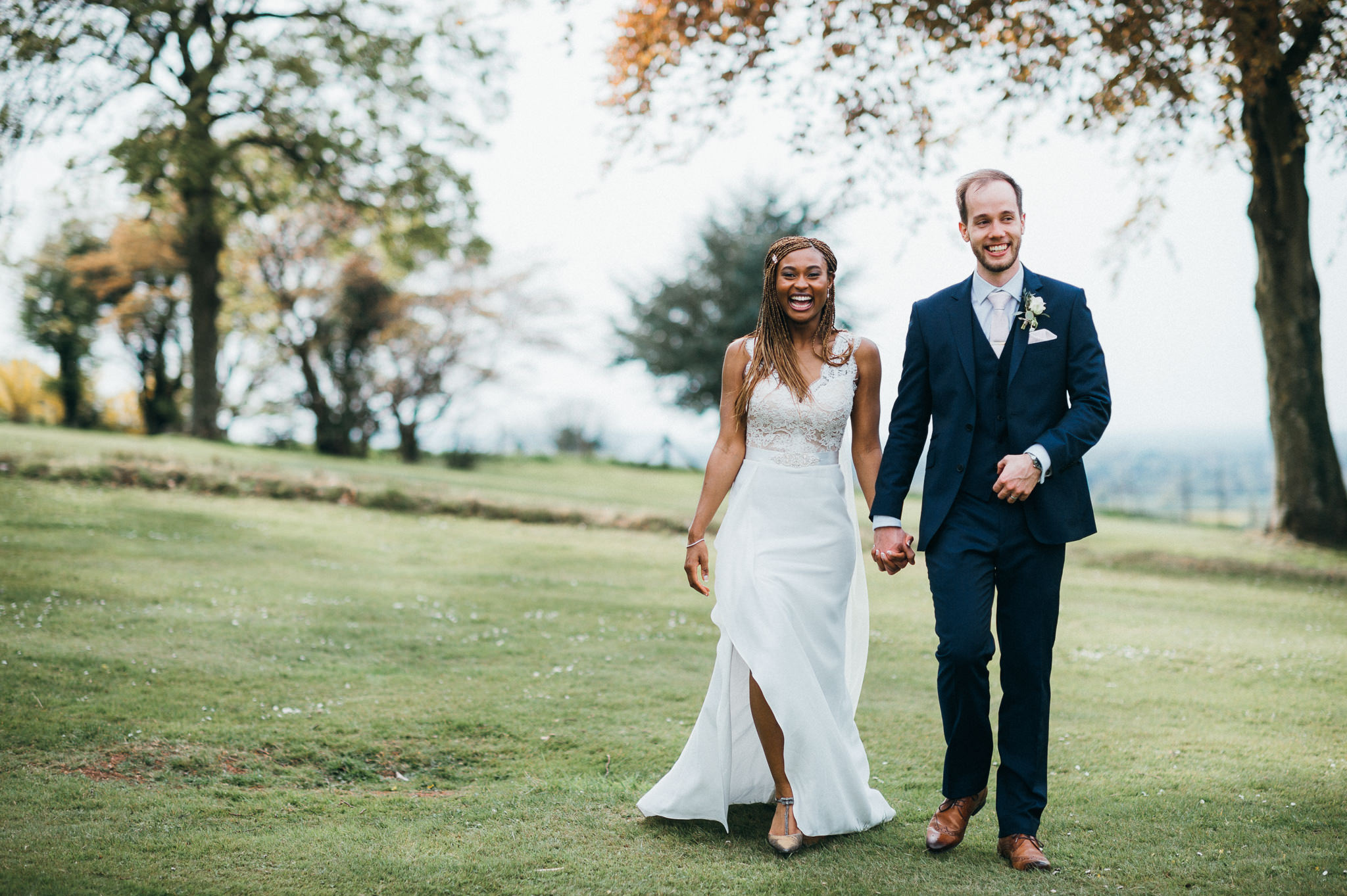 laughing newlyweds Coombe Lodge Blagdon