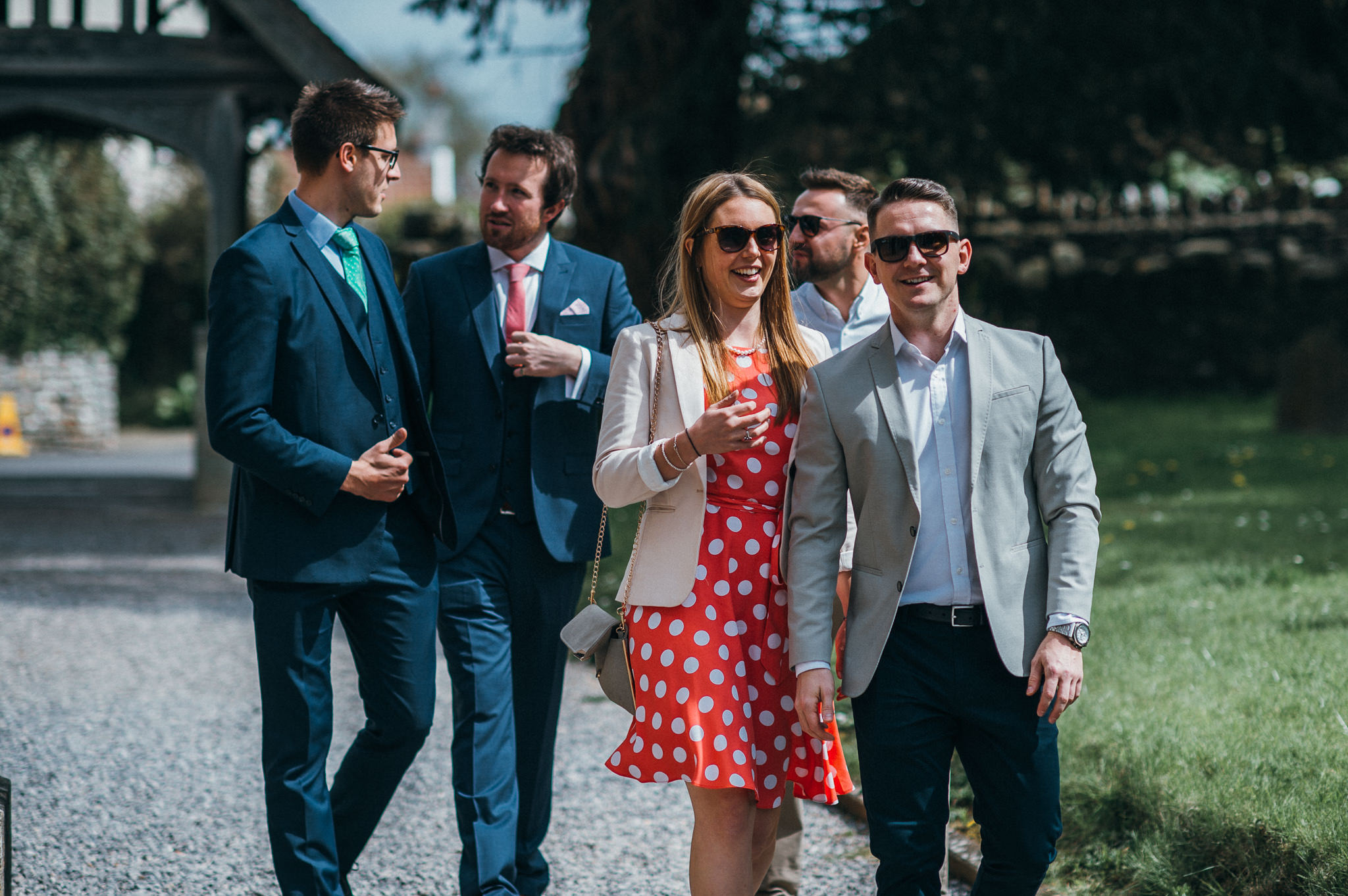 guests arrive at Blagdon Church wedding