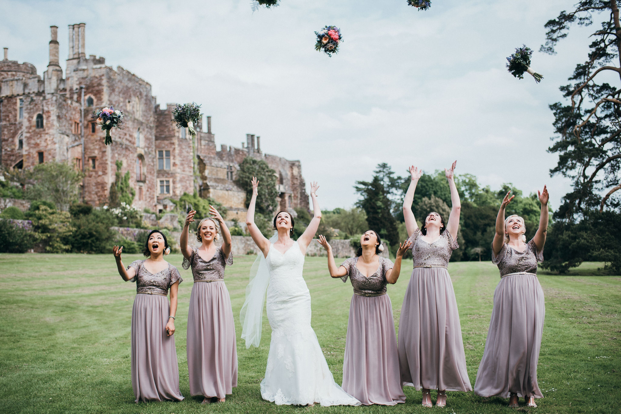 bridesmaids throw bouquets