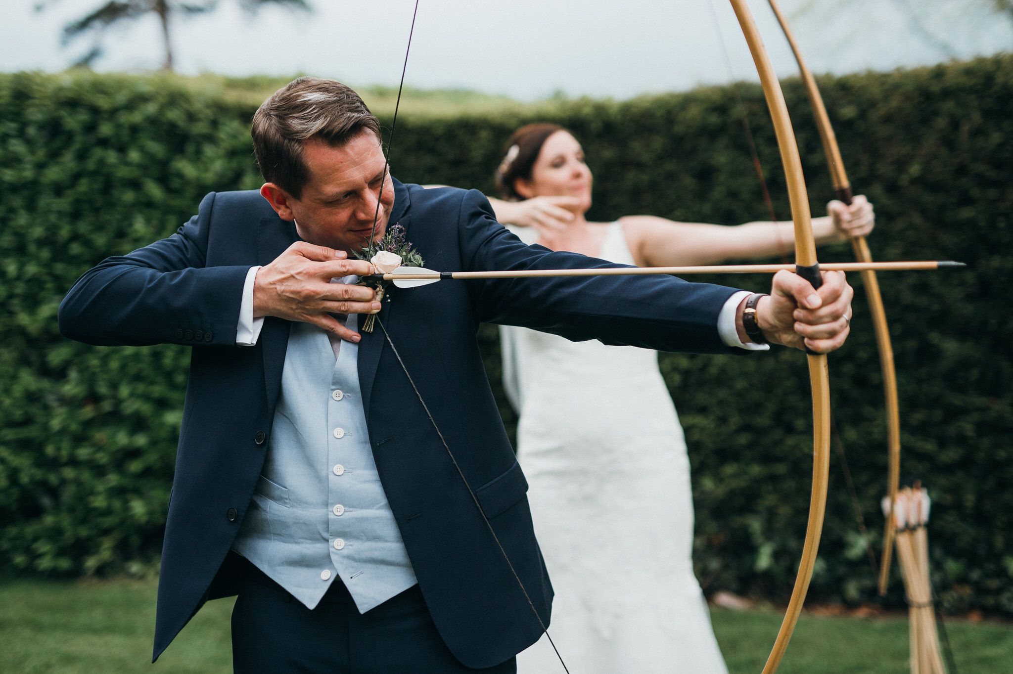 Berkeley Castle archery newlyweds