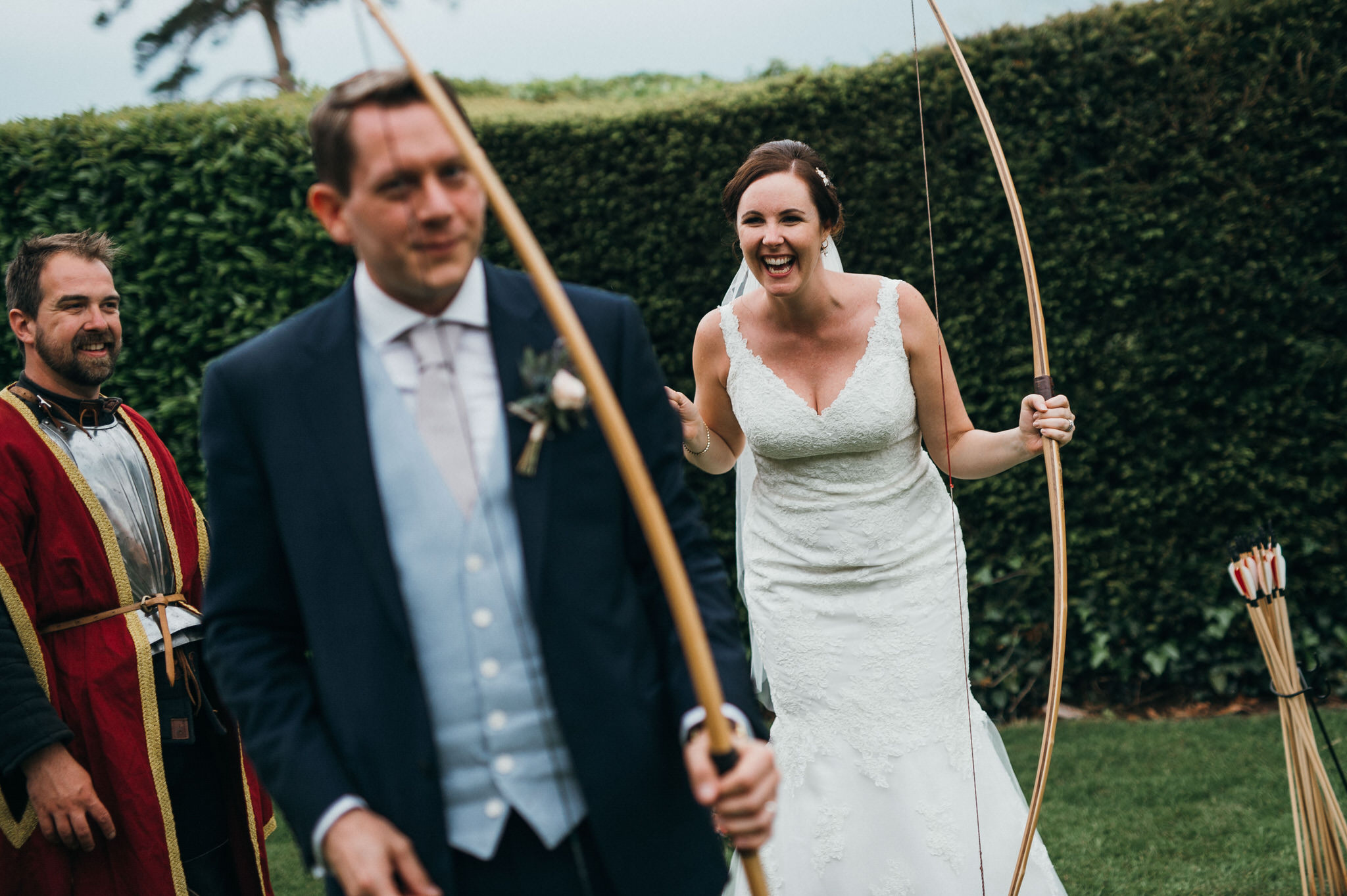 archery Bride and Groom Berkeley Castle
