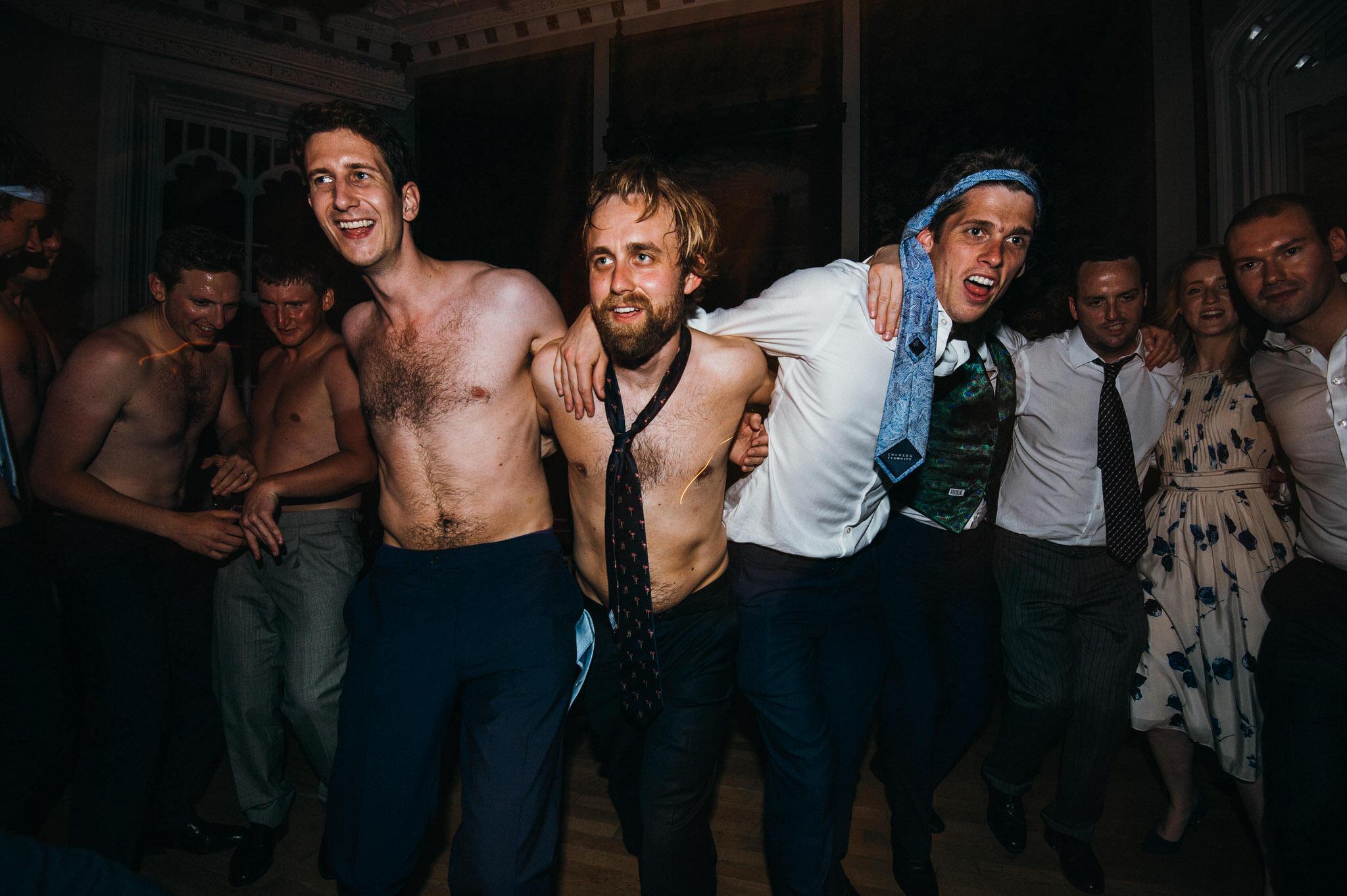 Topless guys at wedding