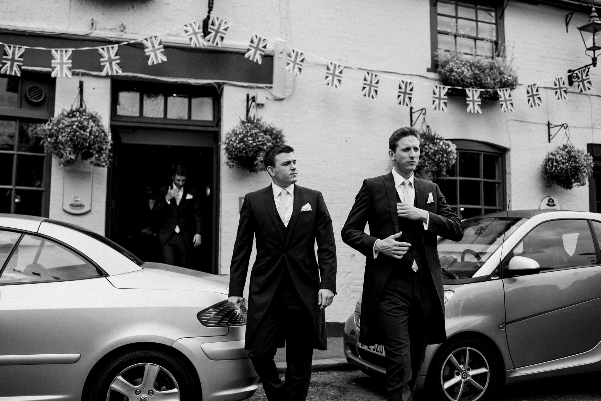 Groom leaves pub on wedding day