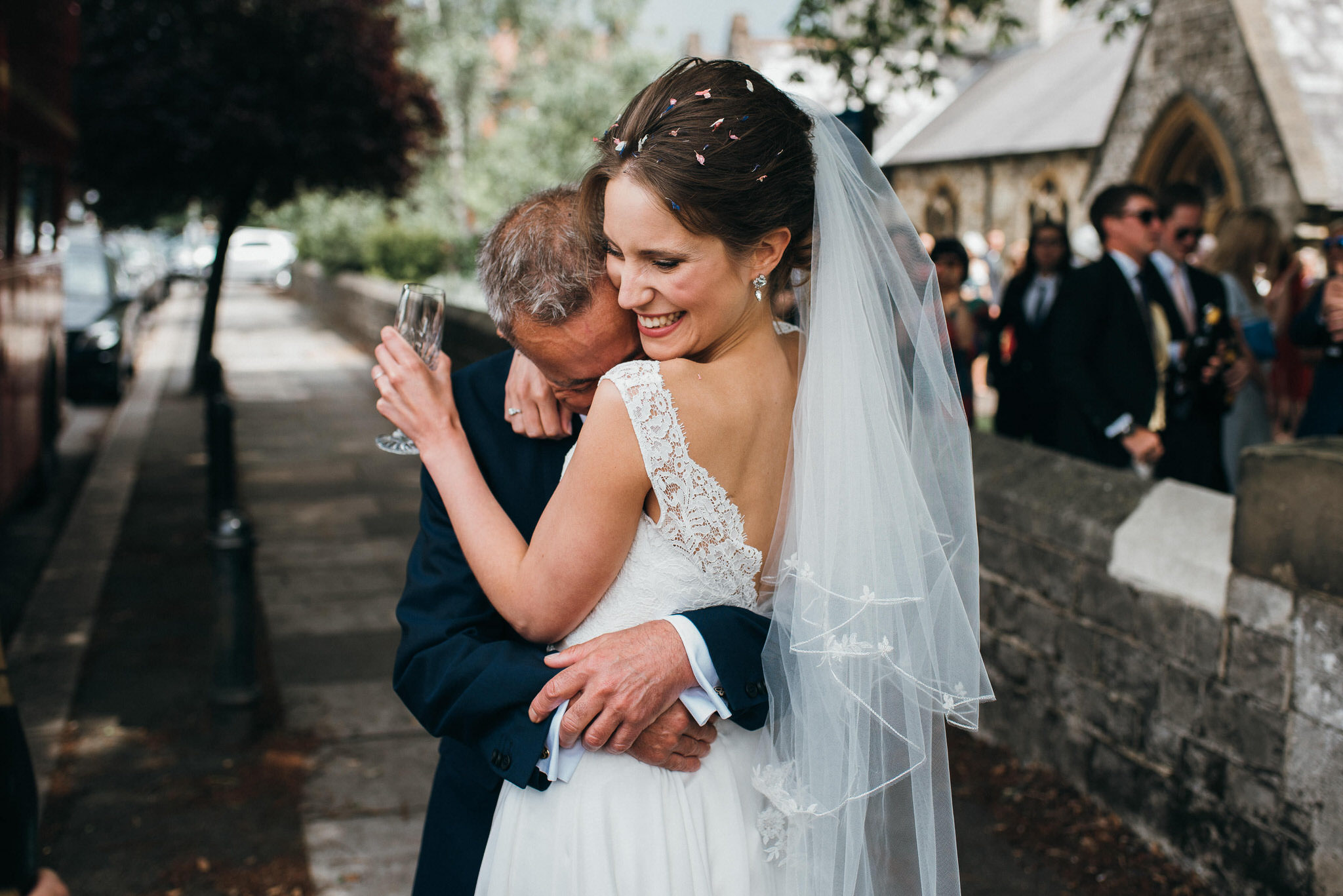 big hug from father of bride