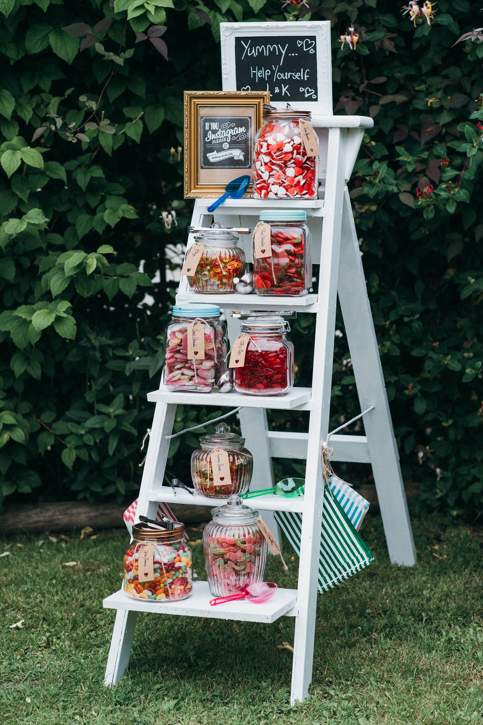 Sweet Ladder at wedding reception