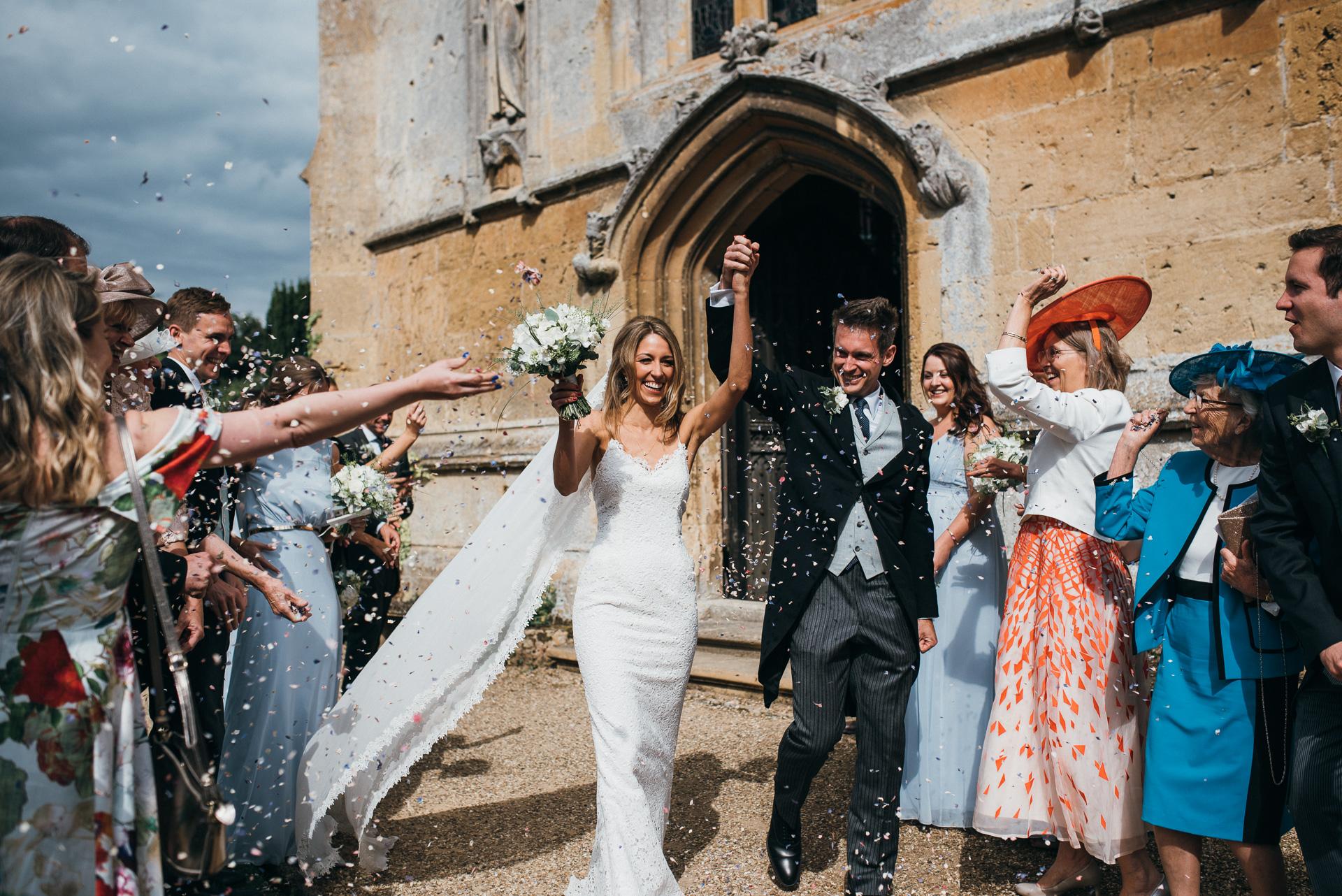 confetti at Sudeley castle wedding