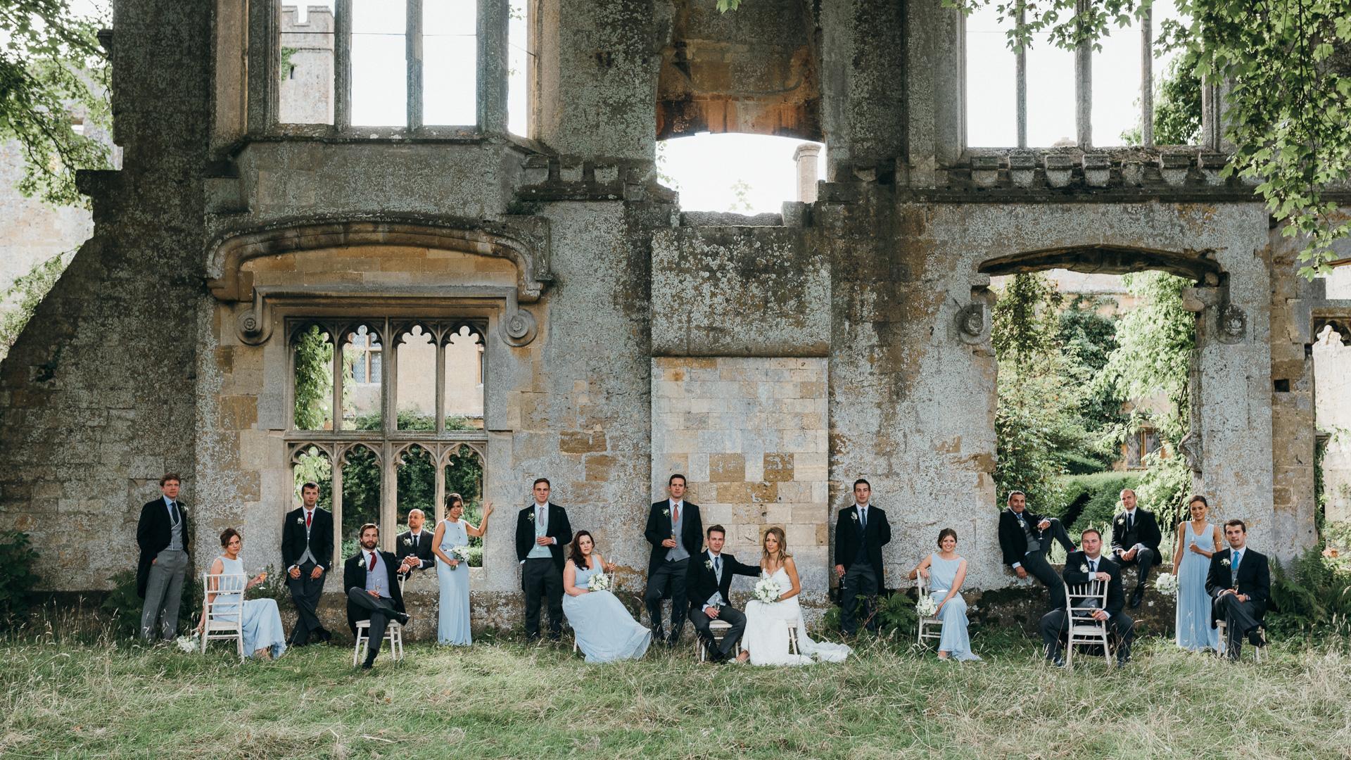 Sudeley castle group photo wedding