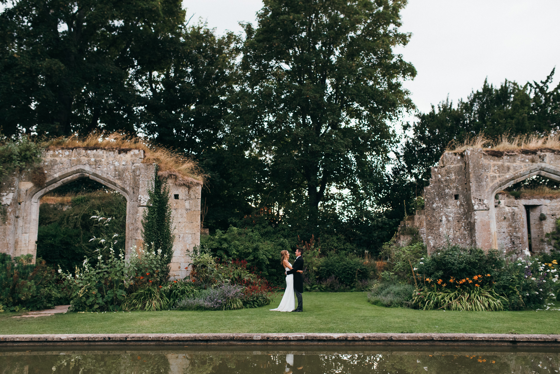 ancient ruins at sudeley castle Bride and Groom