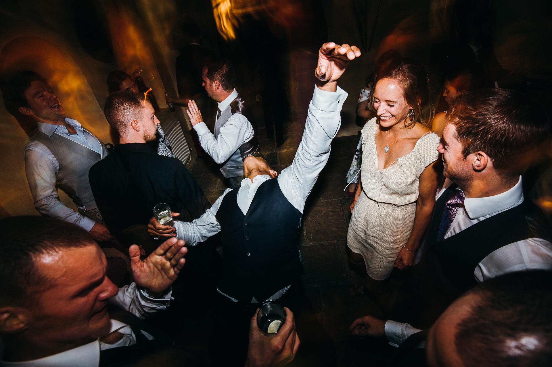 crazy dancing at Sudeley castle wedding