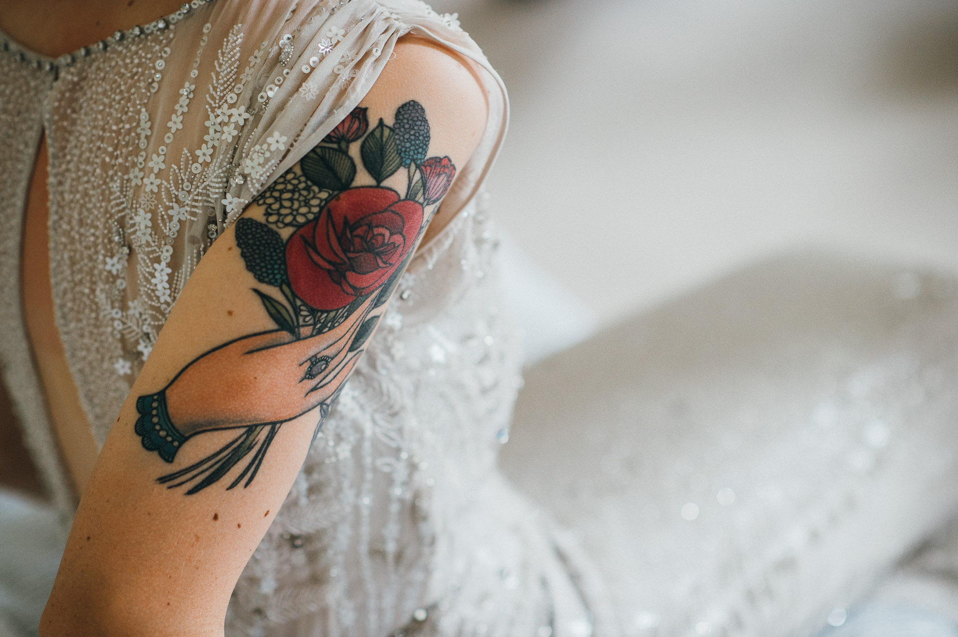 Brides arm tattoo