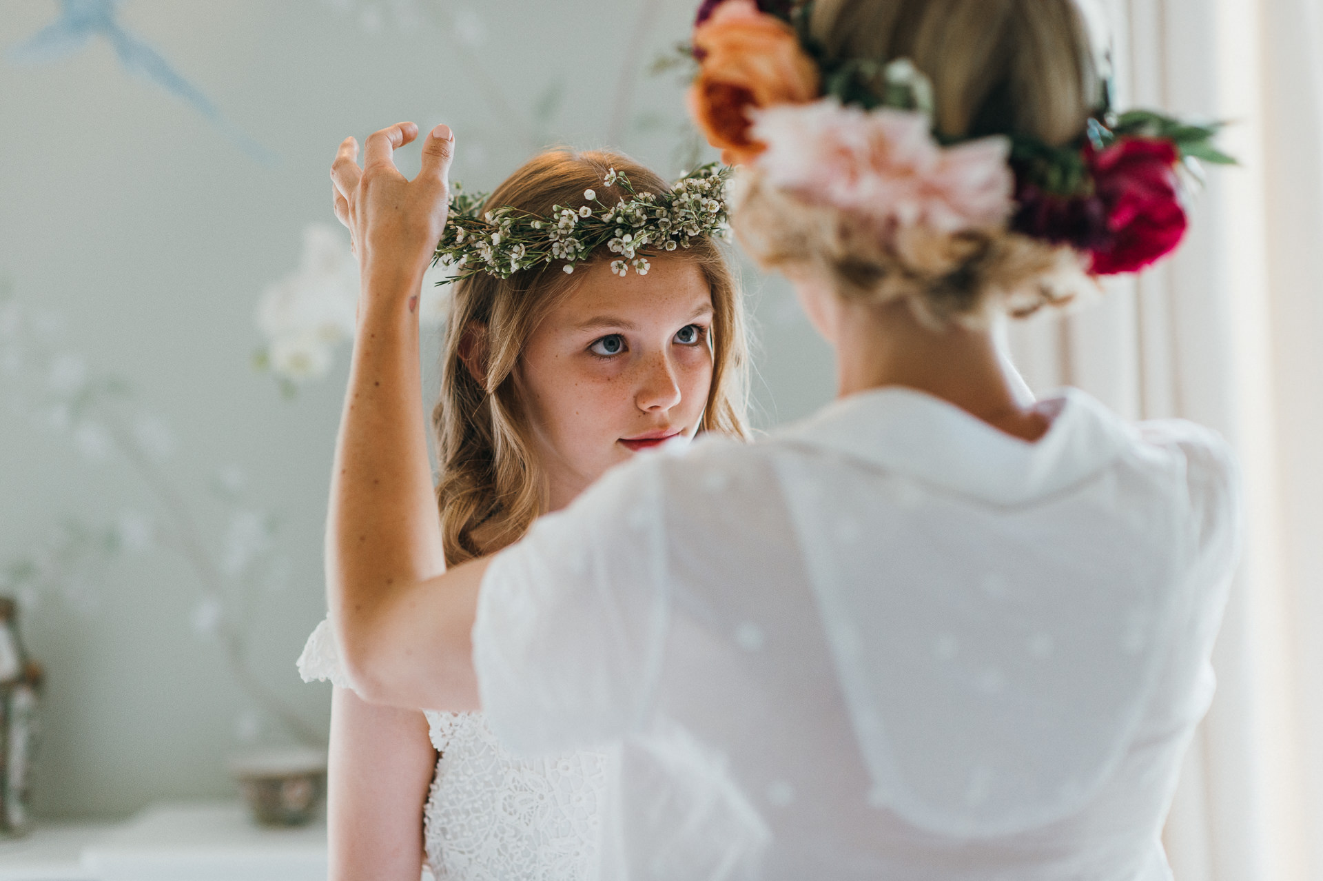 Flower girl and bride at Pennard house