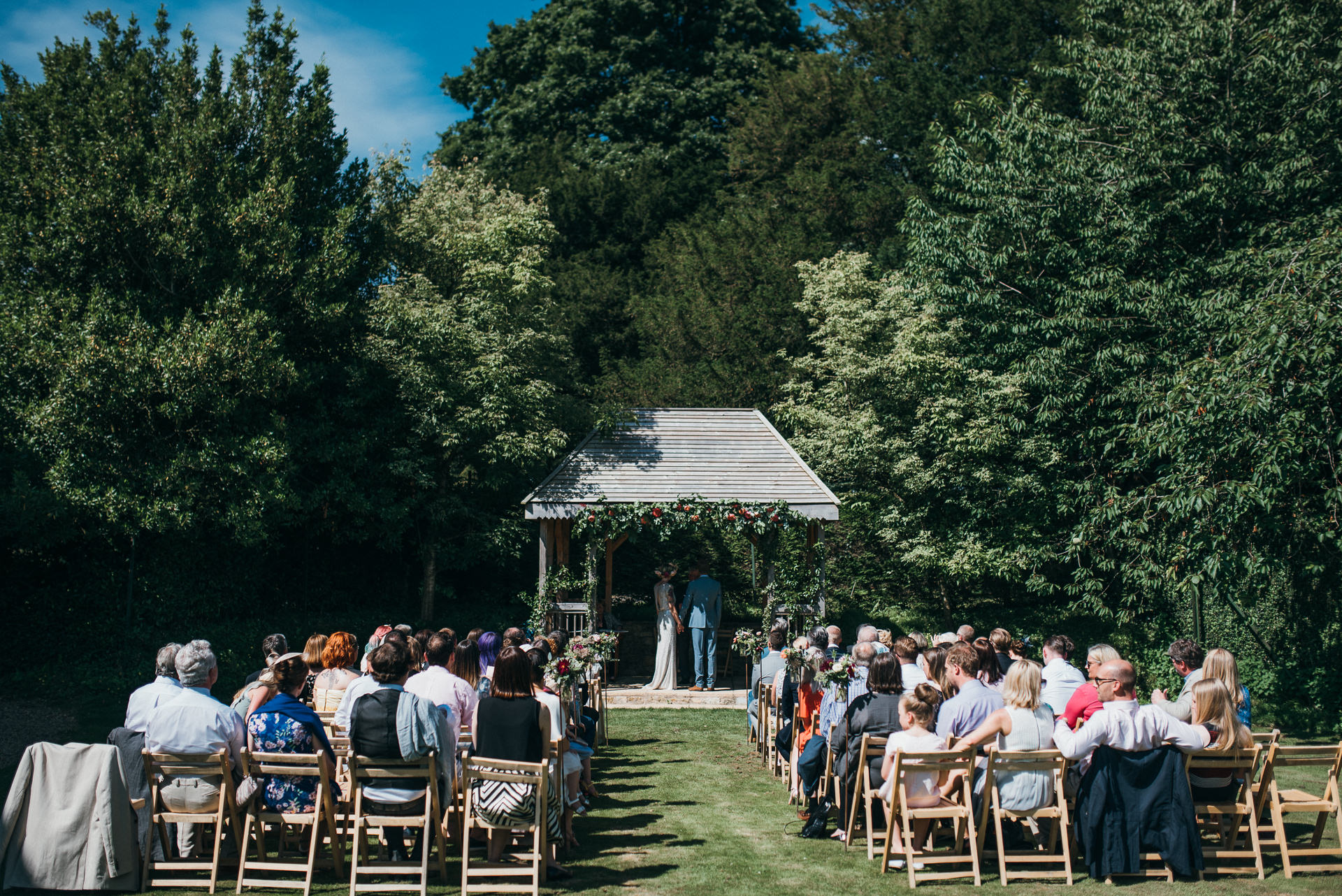 wedding ceremony outdoors at Pennard House
