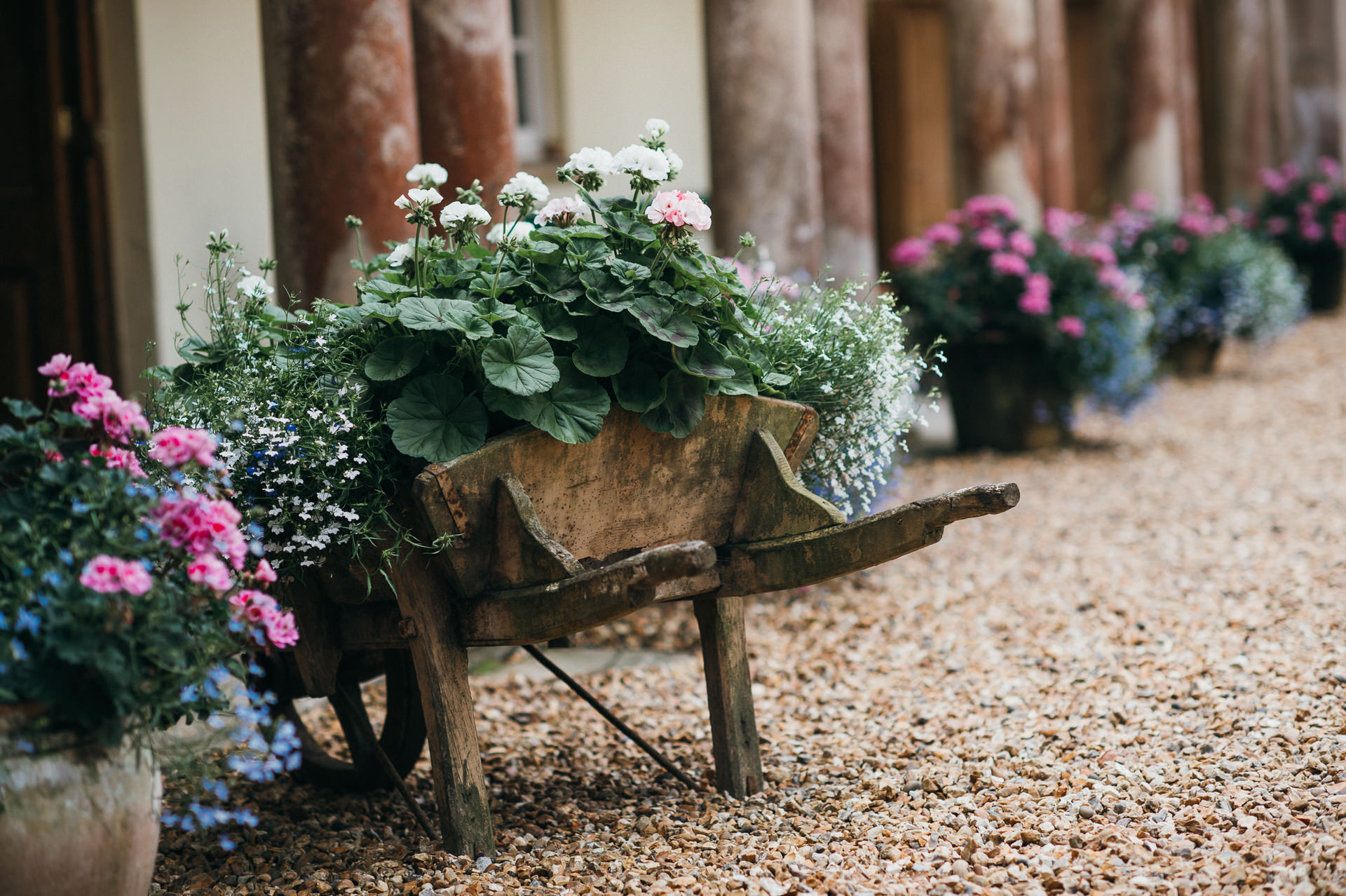 Pennard House flower wheelbarrow