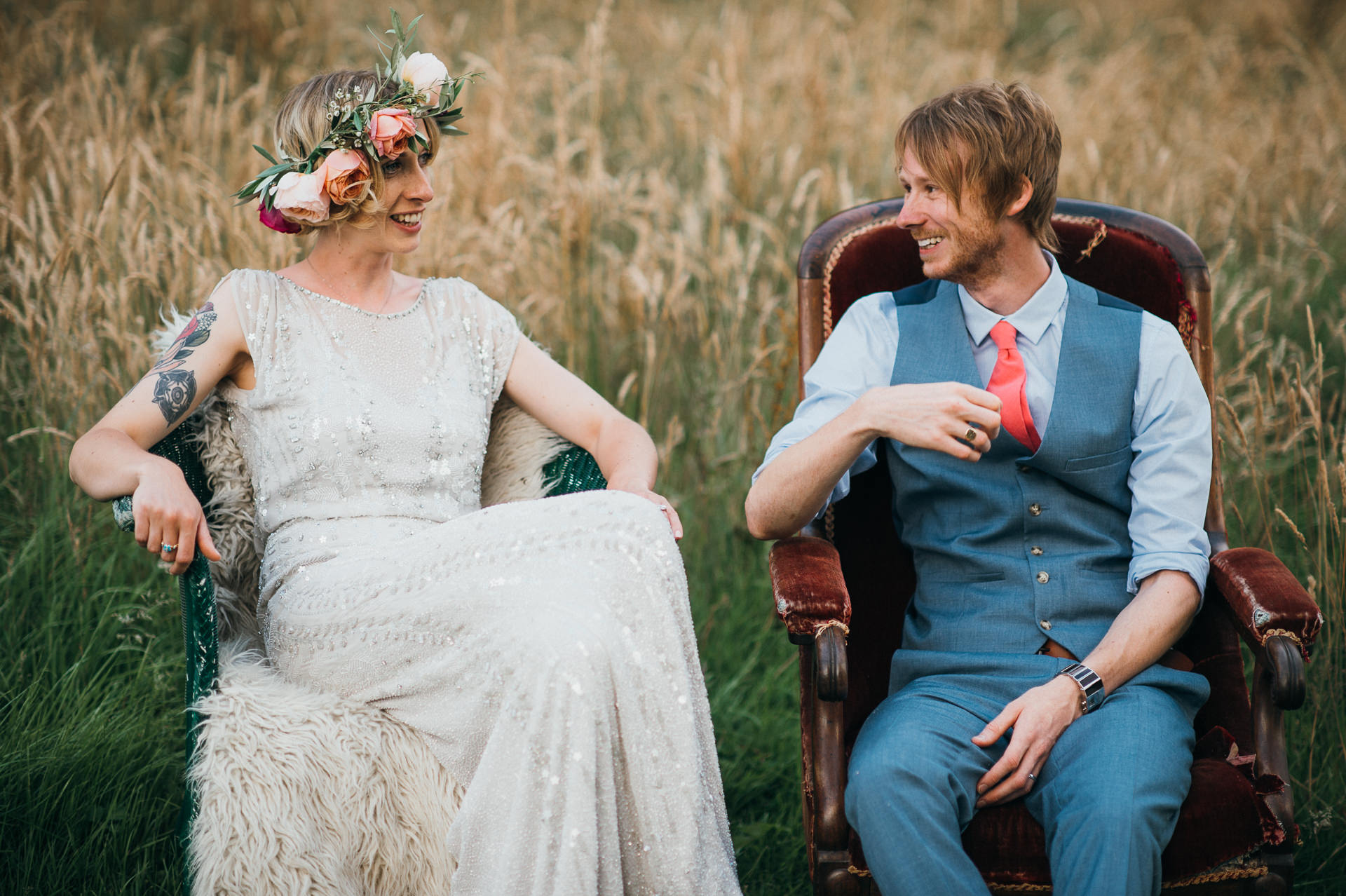 Bride and Groom together at Pennard house
