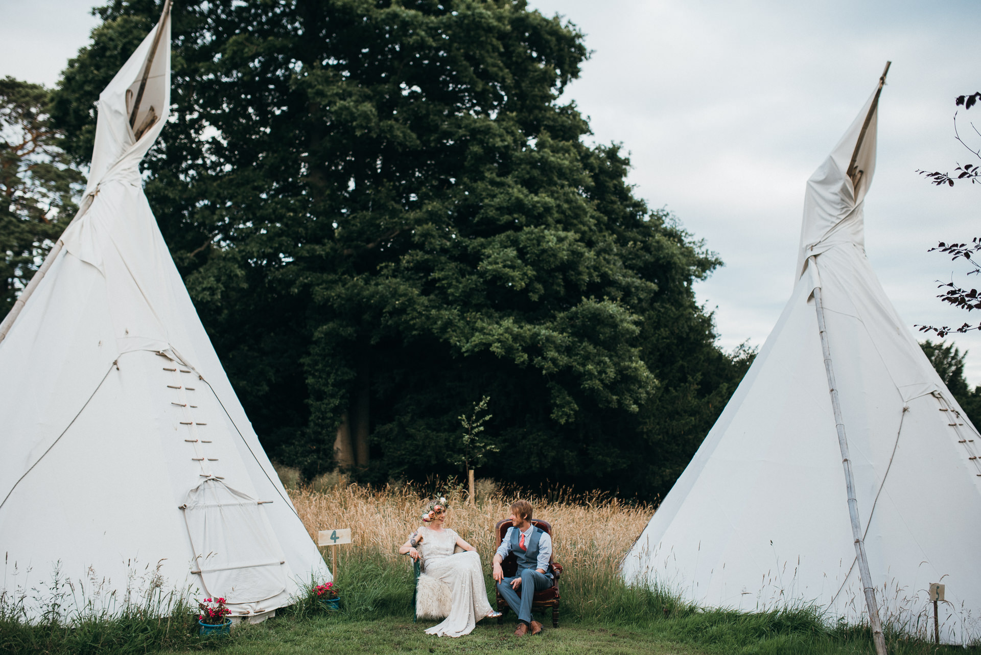 Pennard house wedding tents and newlyweds