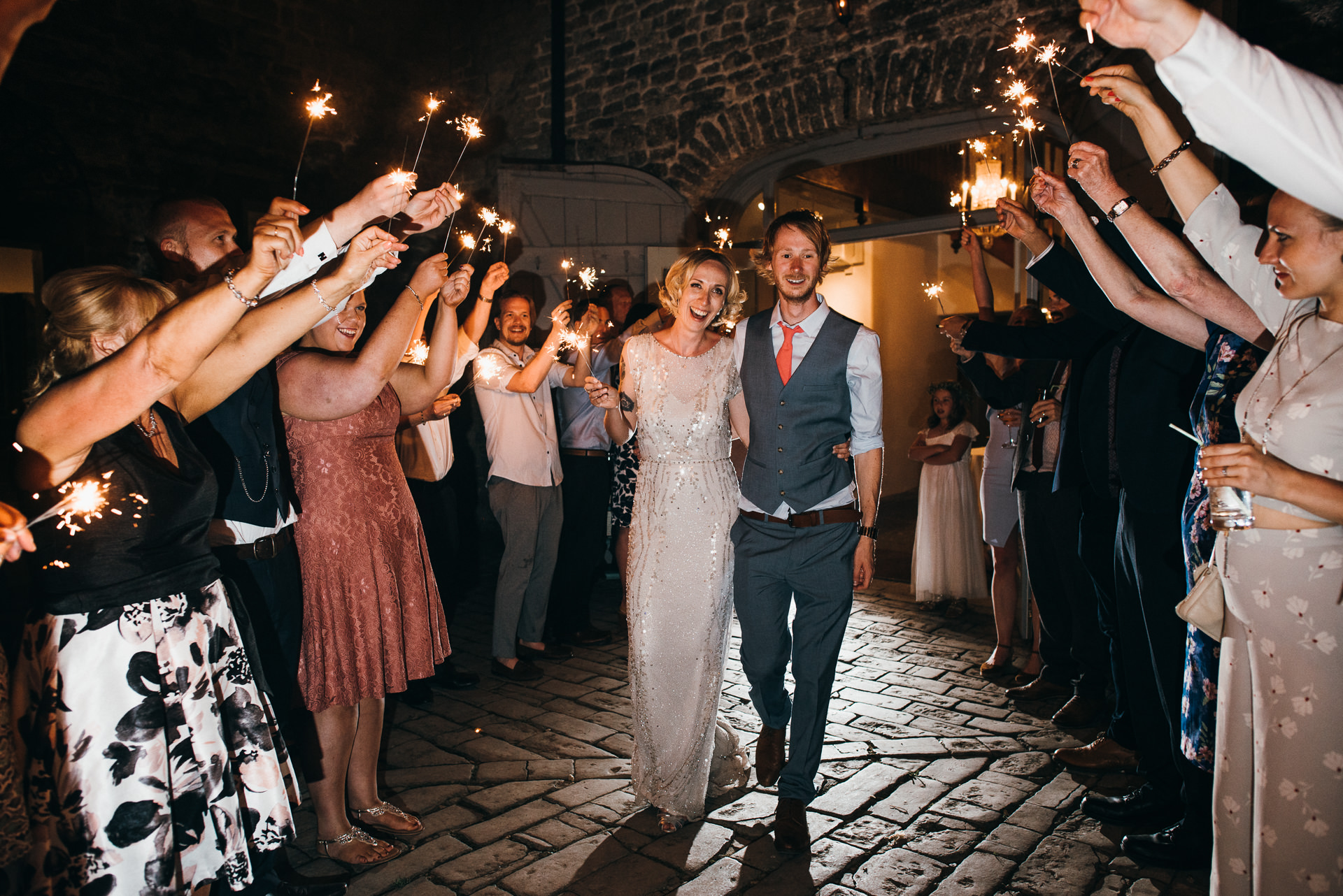 Pennard house wedding sparklers