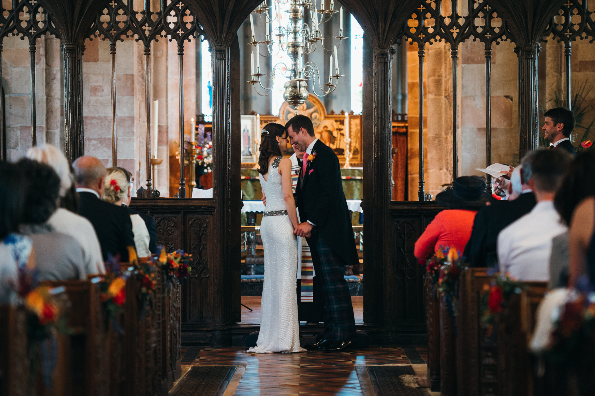 Dunster church wedding ceremony kiss