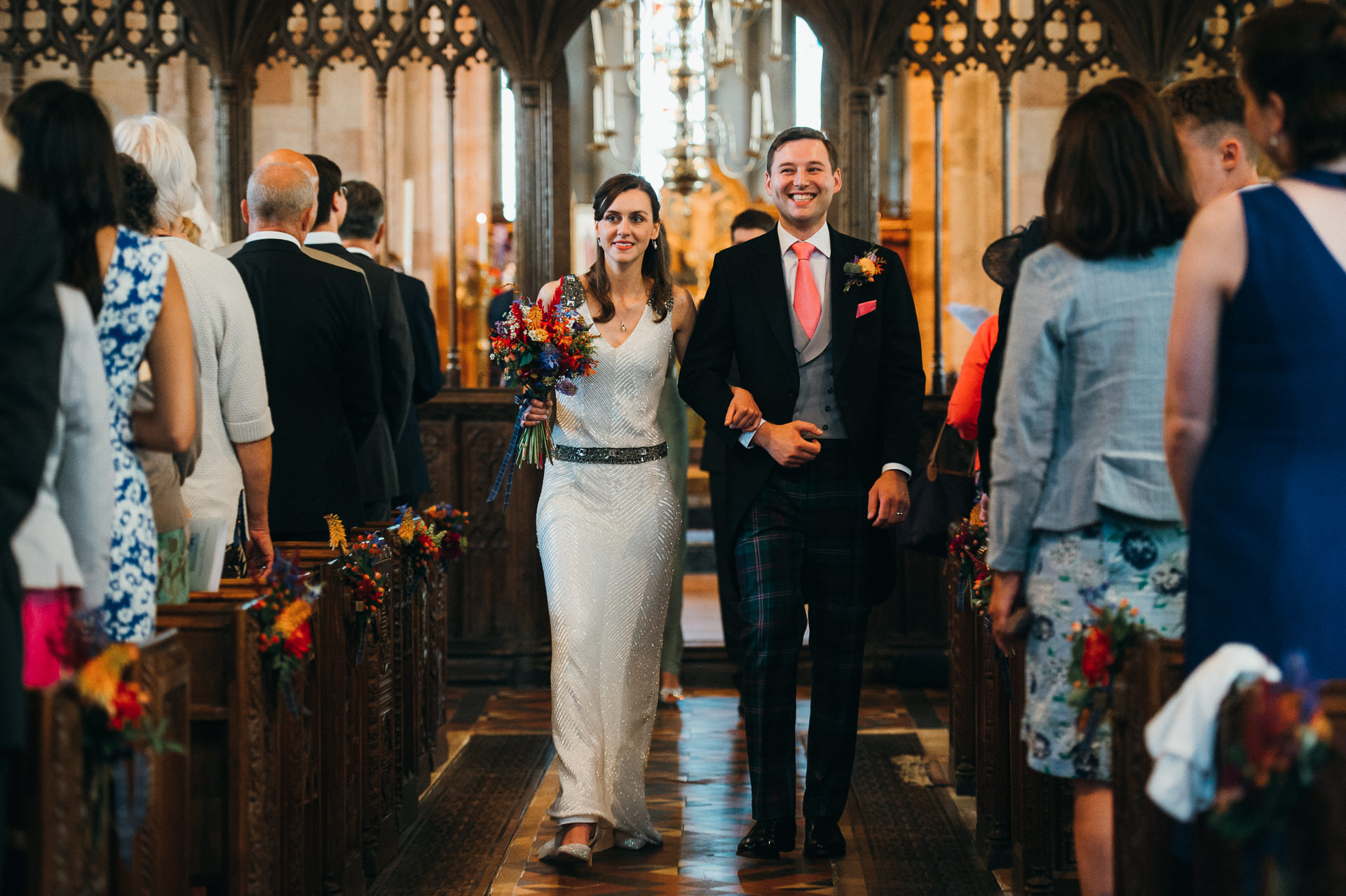 Dunster church wedding just married