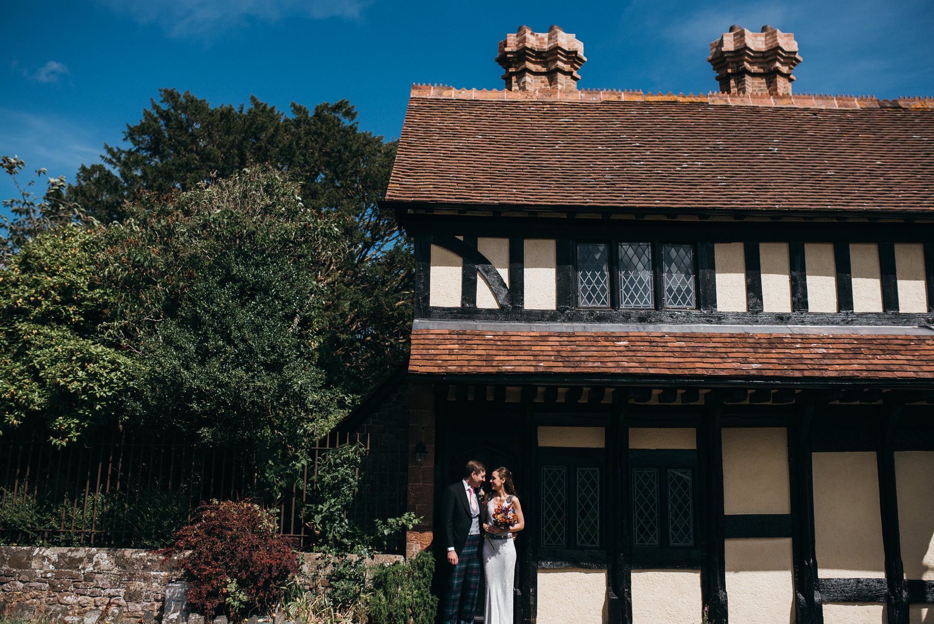 Dunster tithe barn wedding couple