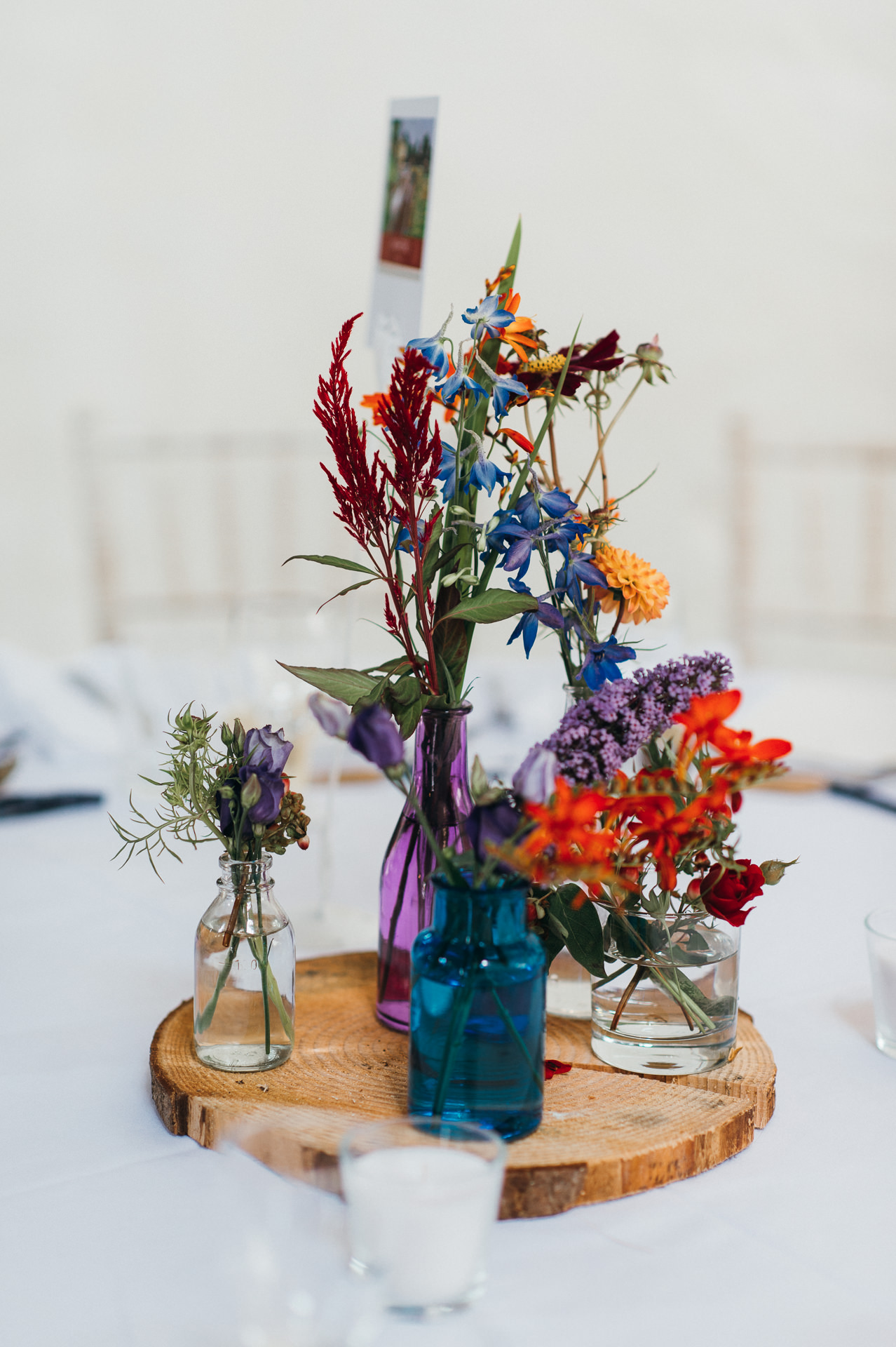 Table decorations Dunster Tithe Barn