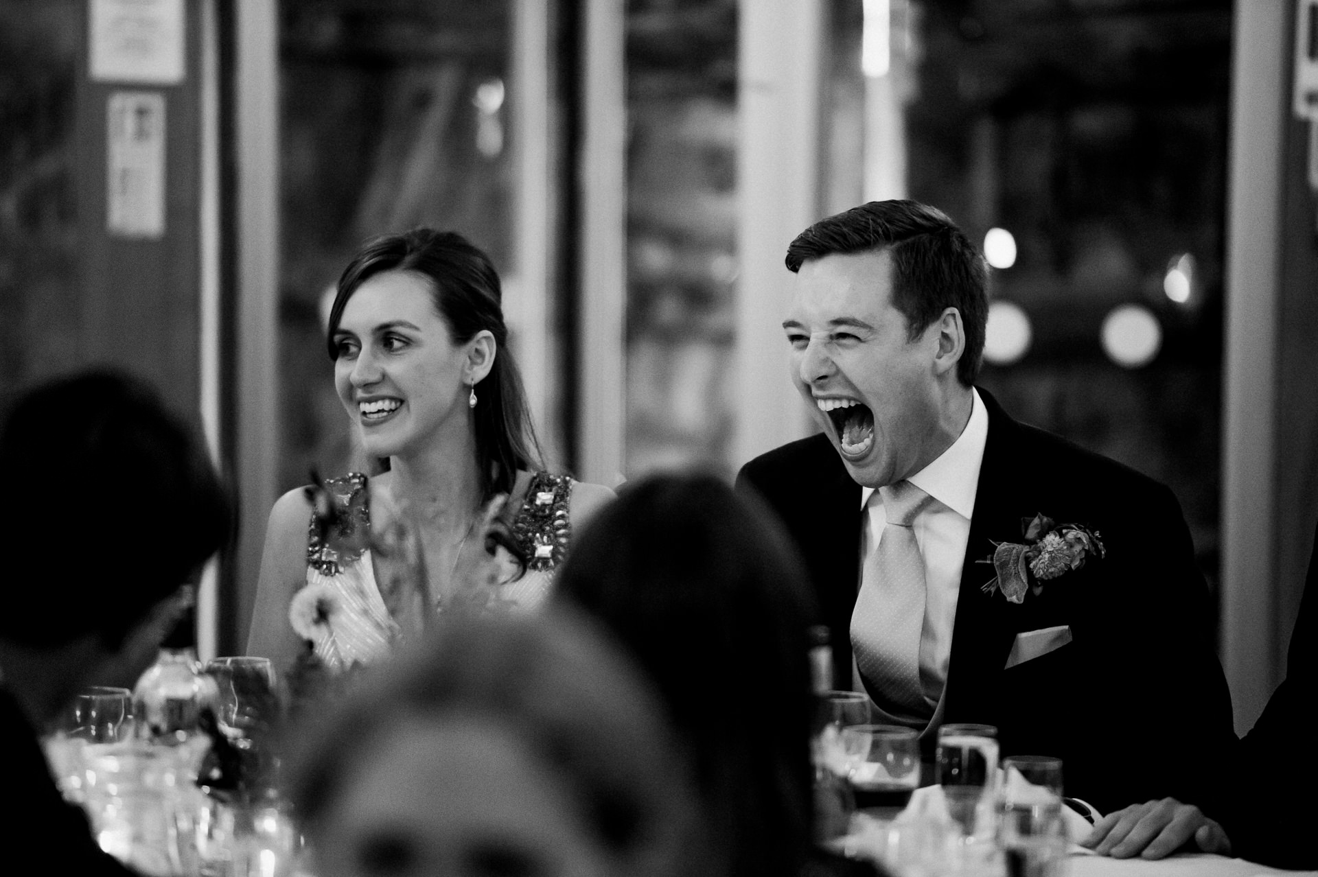 Groom reaction during speech Dunster Tithe Barn