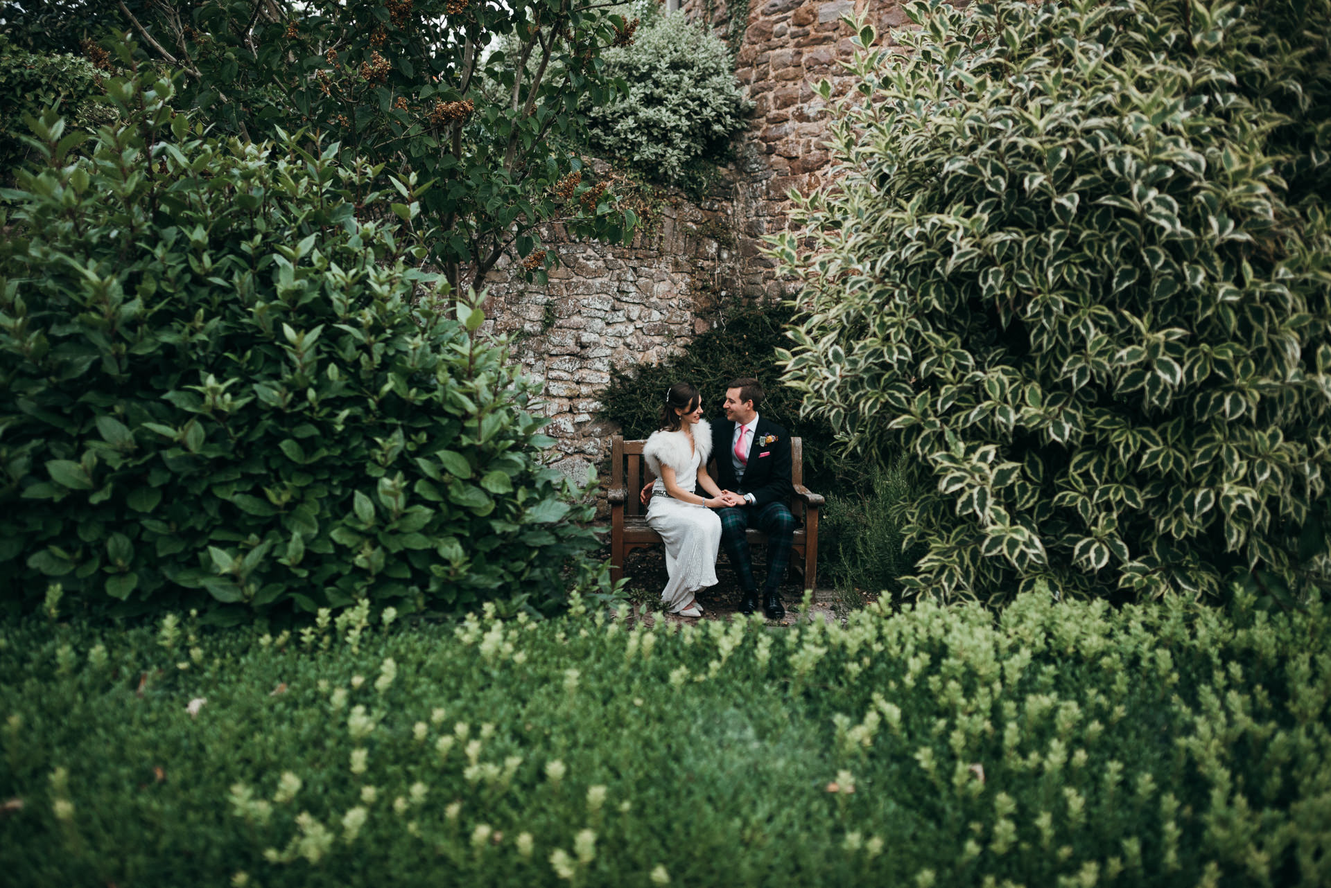 Bride groom at Dunster Tithe Barn wedding