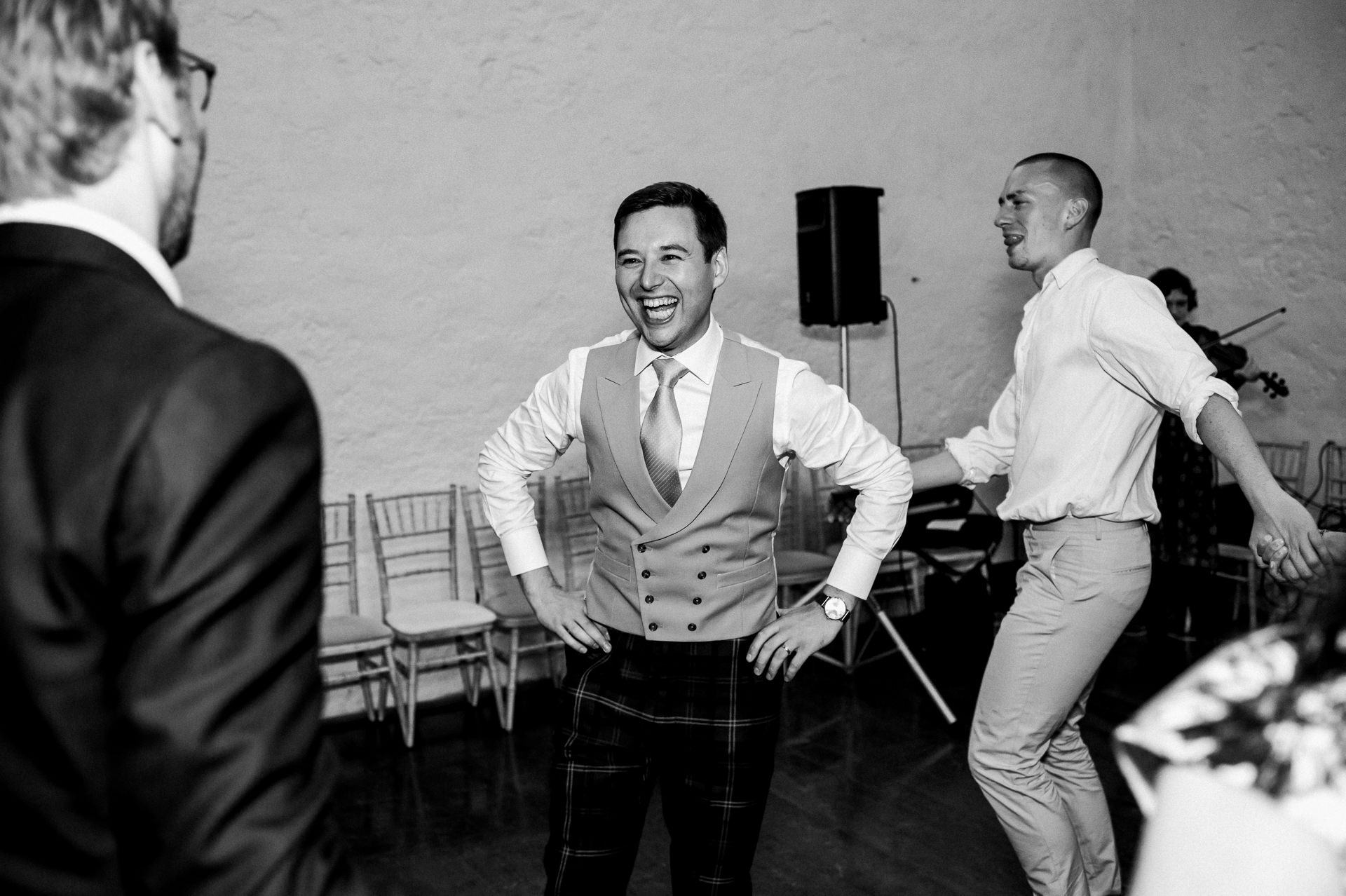 ceilidh Dunster tithe barn wedding